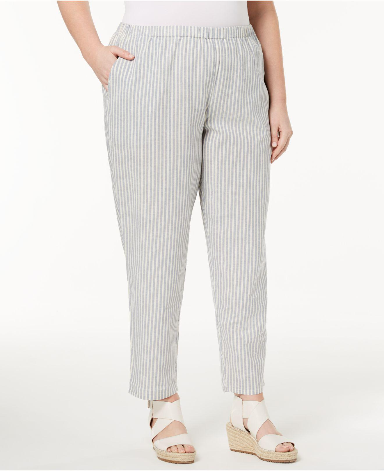 ad155a6591d Lyst - Eileen Fisher Plus Size Organic Cotton Ankle Pants in Gray