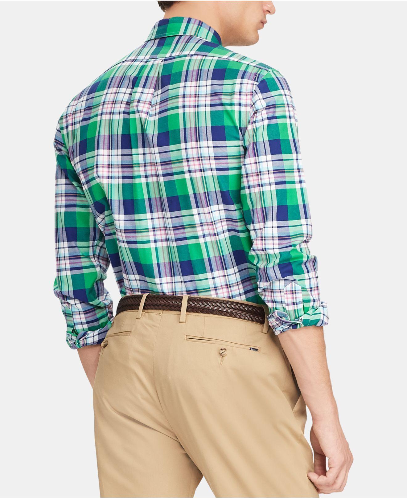c7d11682 ... get lyst polo ralph lauren plaid slim fit button down oxford shirt in  blue for men