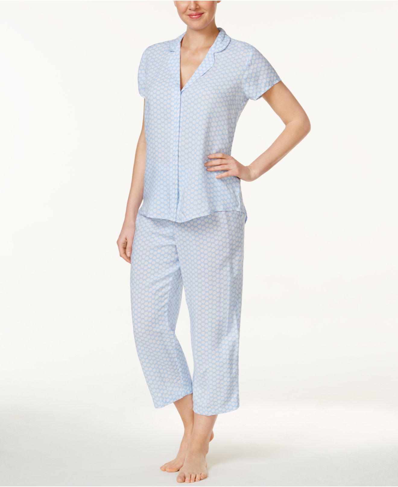 86bfa4eefd Lyst - Miss Elaine Floral-print Pajama Set in Blue