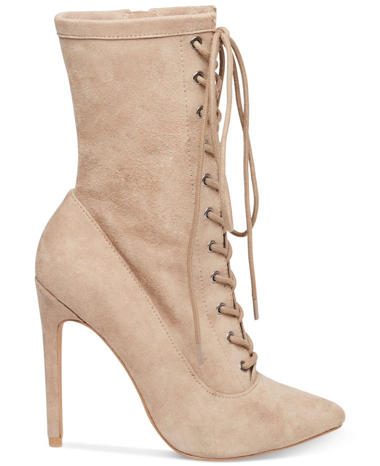 0634207de0f Steve Madden Women s Satisfied Lace-up Stiletto Booties in Natural ...