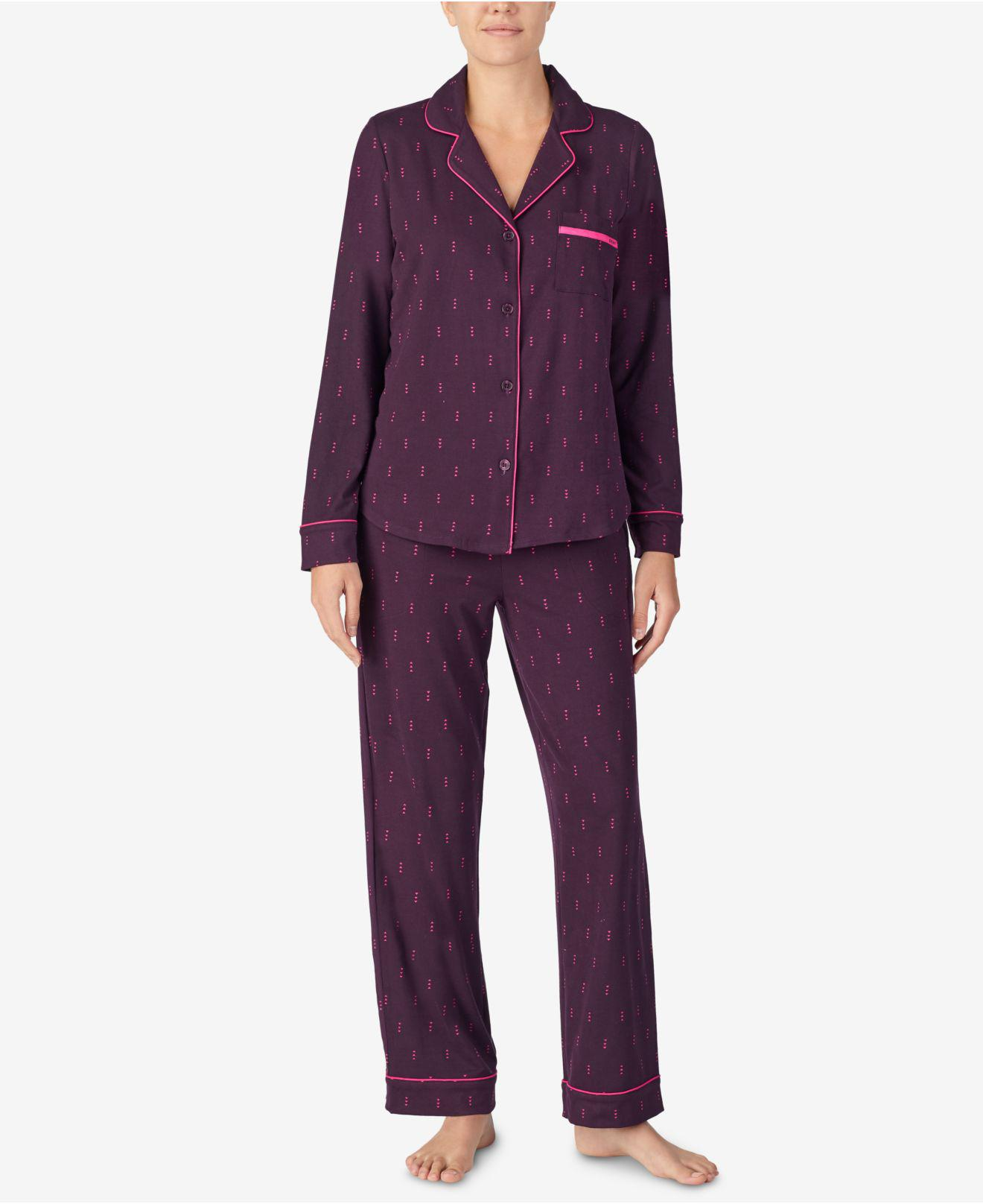 d51dcd6d7a7a Lyst - DKNY Super-soft Printed Notch Collar Pajama Set in Purple