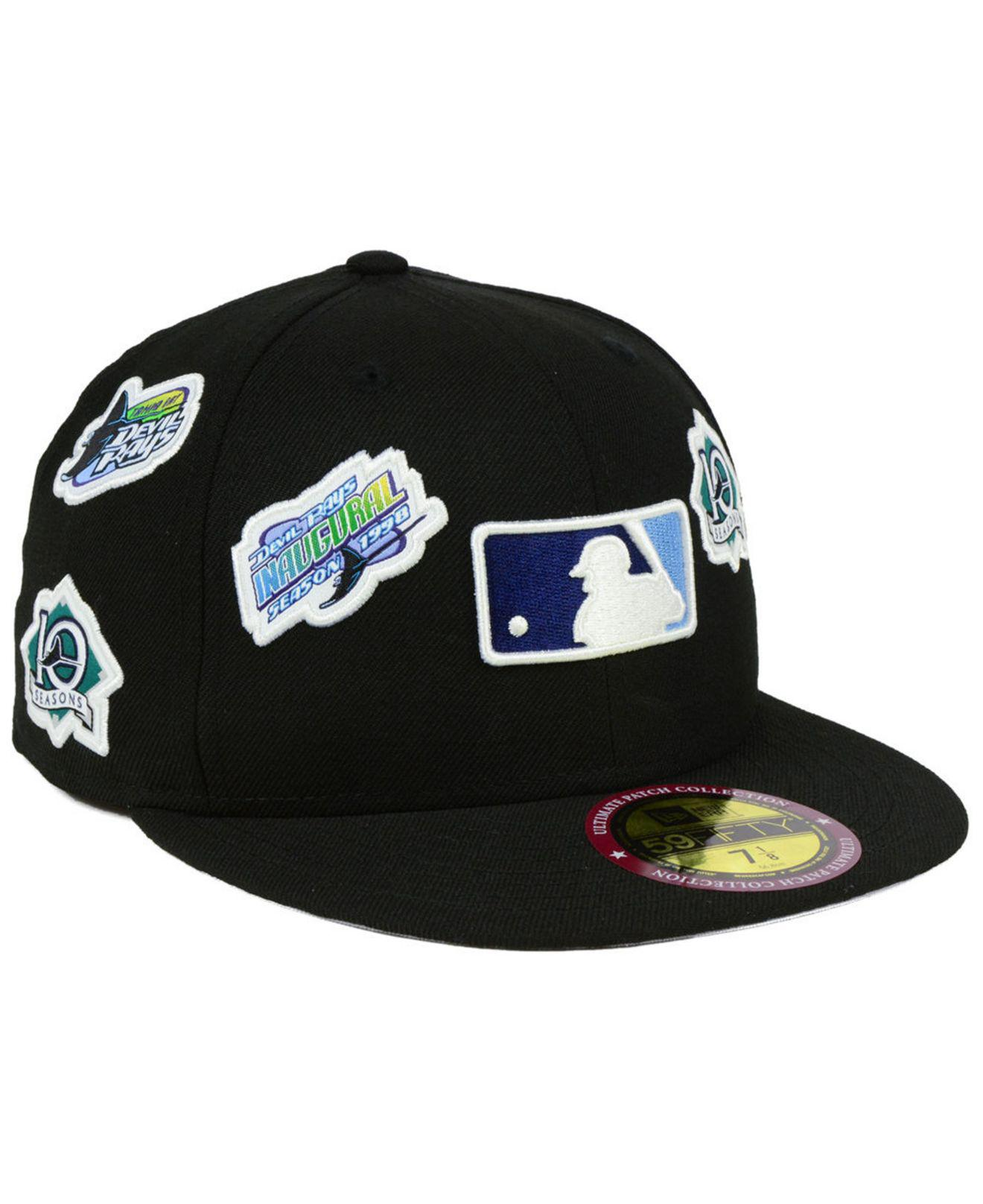 cdc5acca430 KTZ. Men s Black Tampa Bay Rays Ultimate Patch Collection All Patches  59fifty Cap