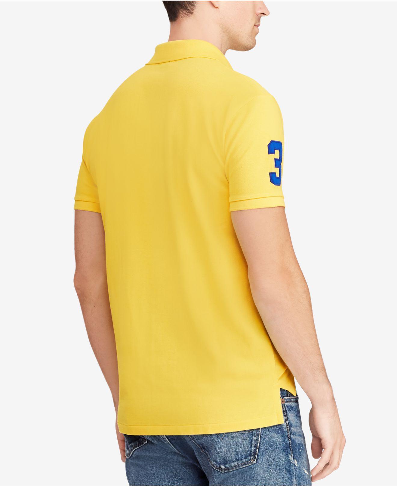 9fcb0e95 ... wholesale lyst polo ralph lauren big pony custom slim fit mesh polo in  yellow for men