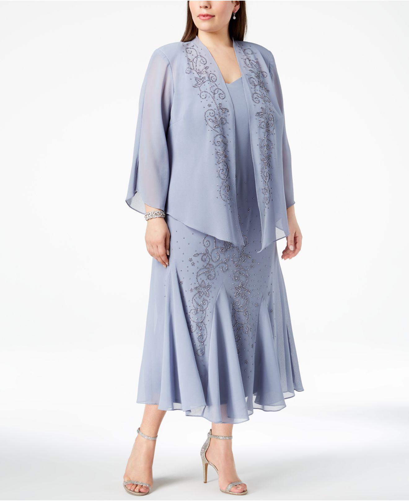d6251f00d73f R   M Richards. Women s Blue R m Richards Plus Size Beaded V-neck Dress And  Jacket