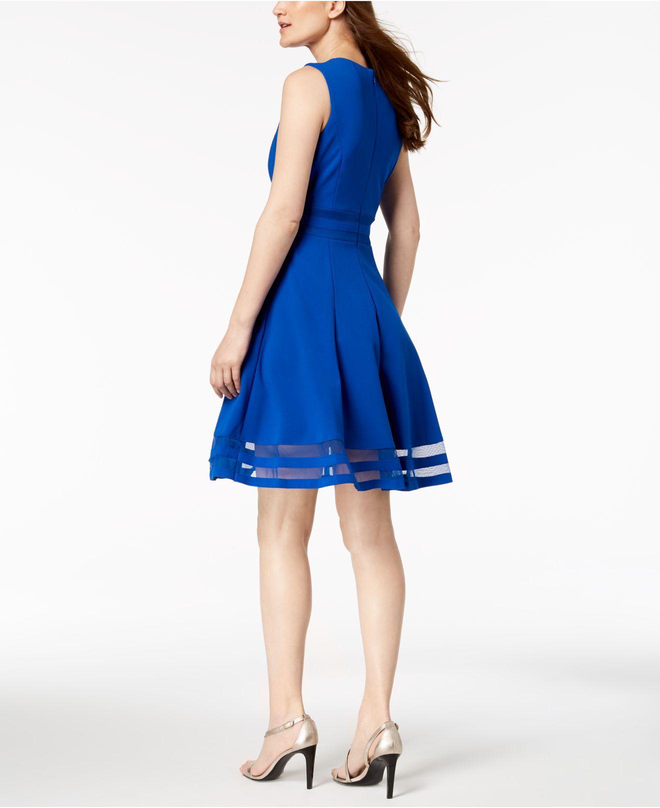 14950972 Calvin Klein - Blue Illusion-trim Fit & Flare Dress - Lyst. View fullscreen