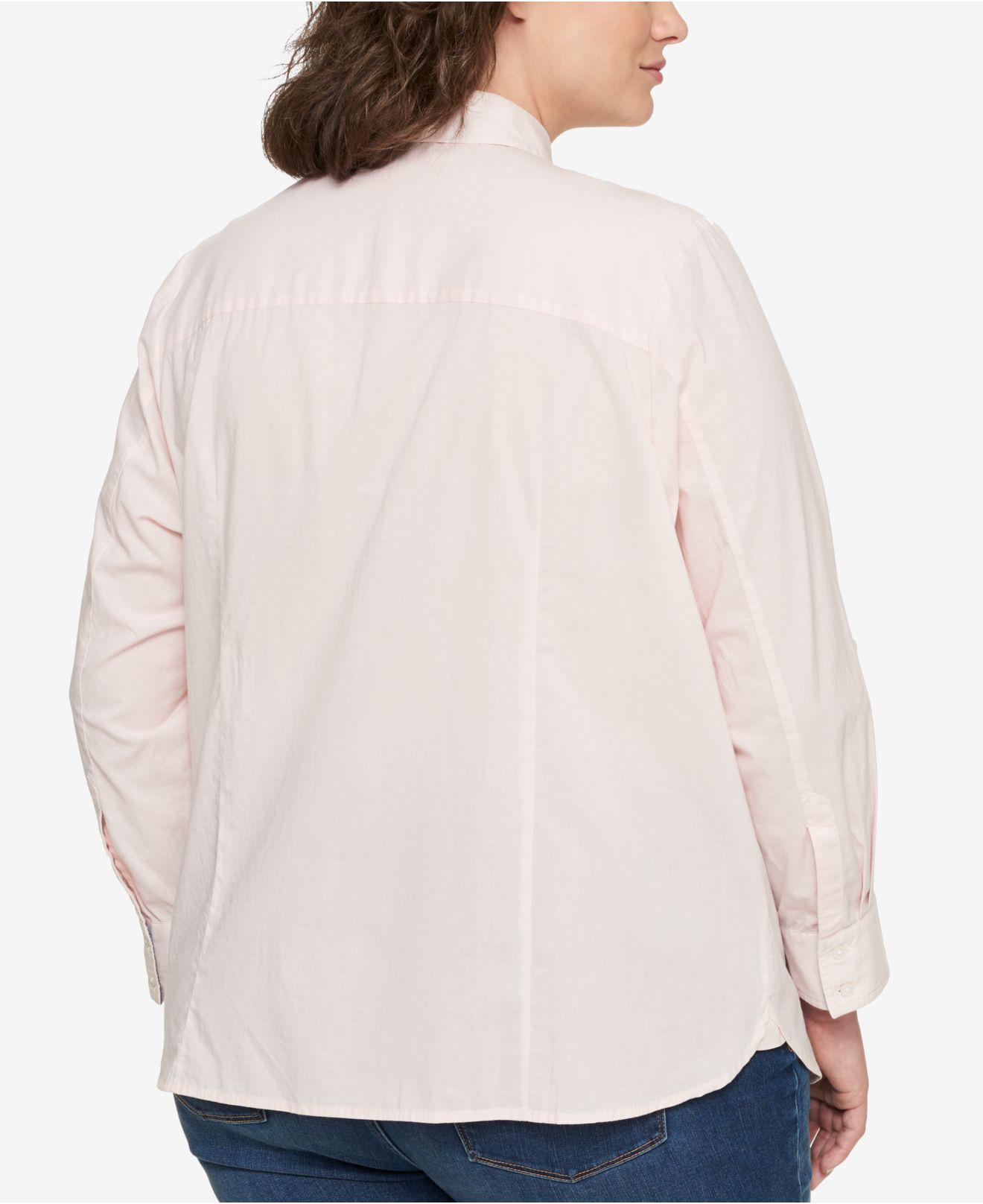 520fbf426e625 Lyst - Tommy Hilfiger Plus Size Cotton Utility Shirt in Pink