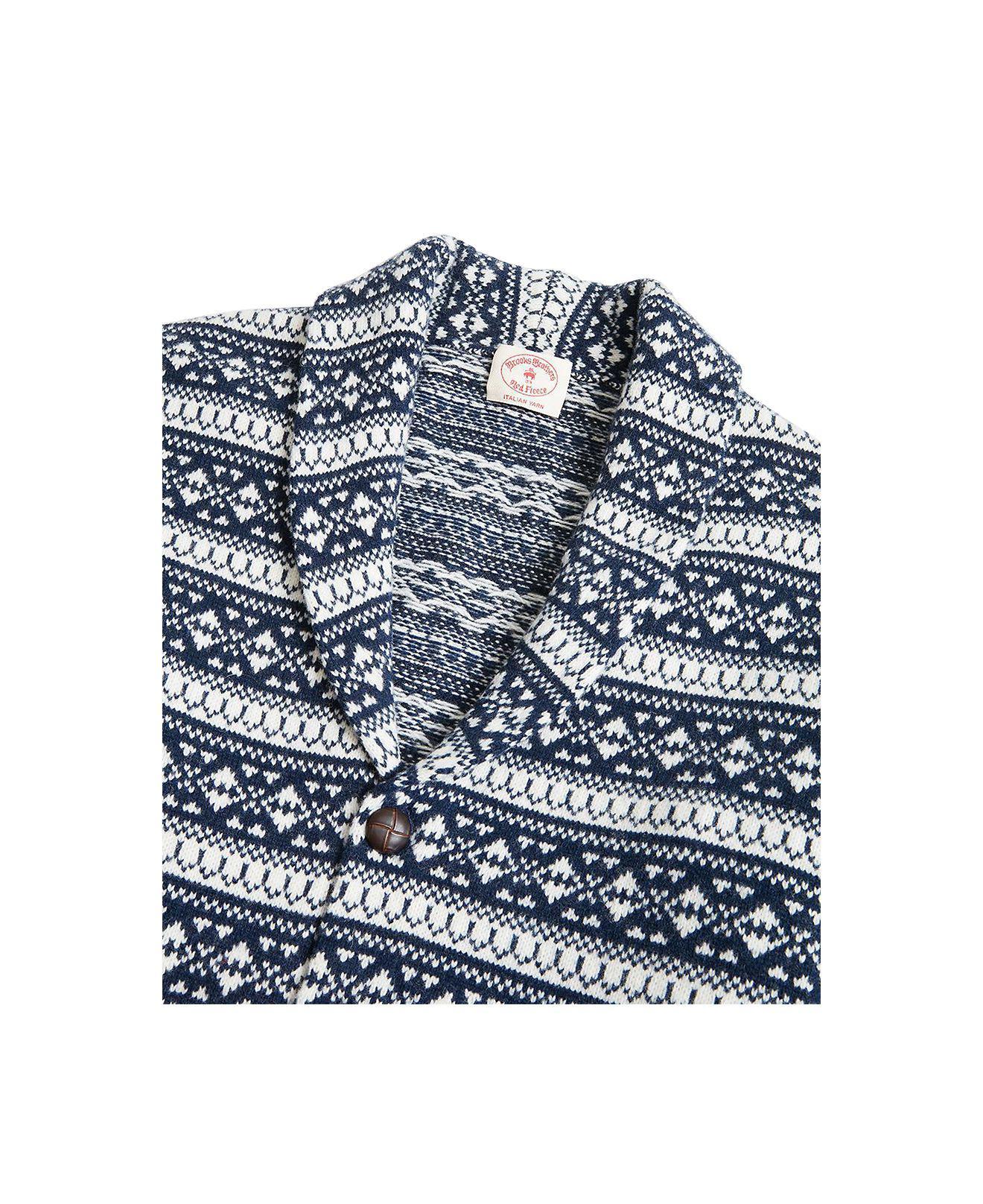 2493a4f76 Lyst - Brooks Brothers Red Fleece Fair Isle Shawl-collar Cardigan in ...