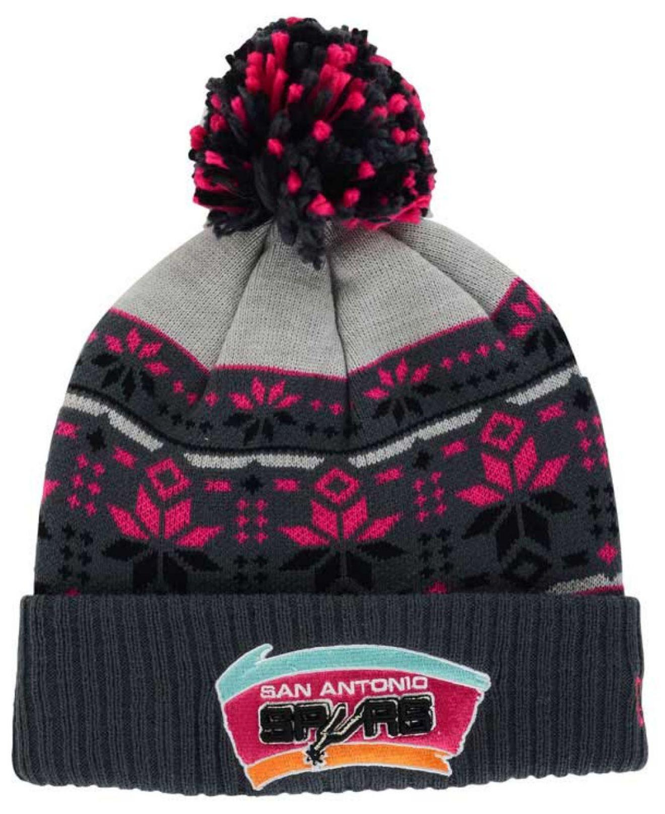 3dcde6f496f ... black geotech cuffed pom knit 9a0f5 abf89 canada detailed pictures  ddc46 14f92 lyst ktz san antonio spurs flake shake knit hat in pink ...