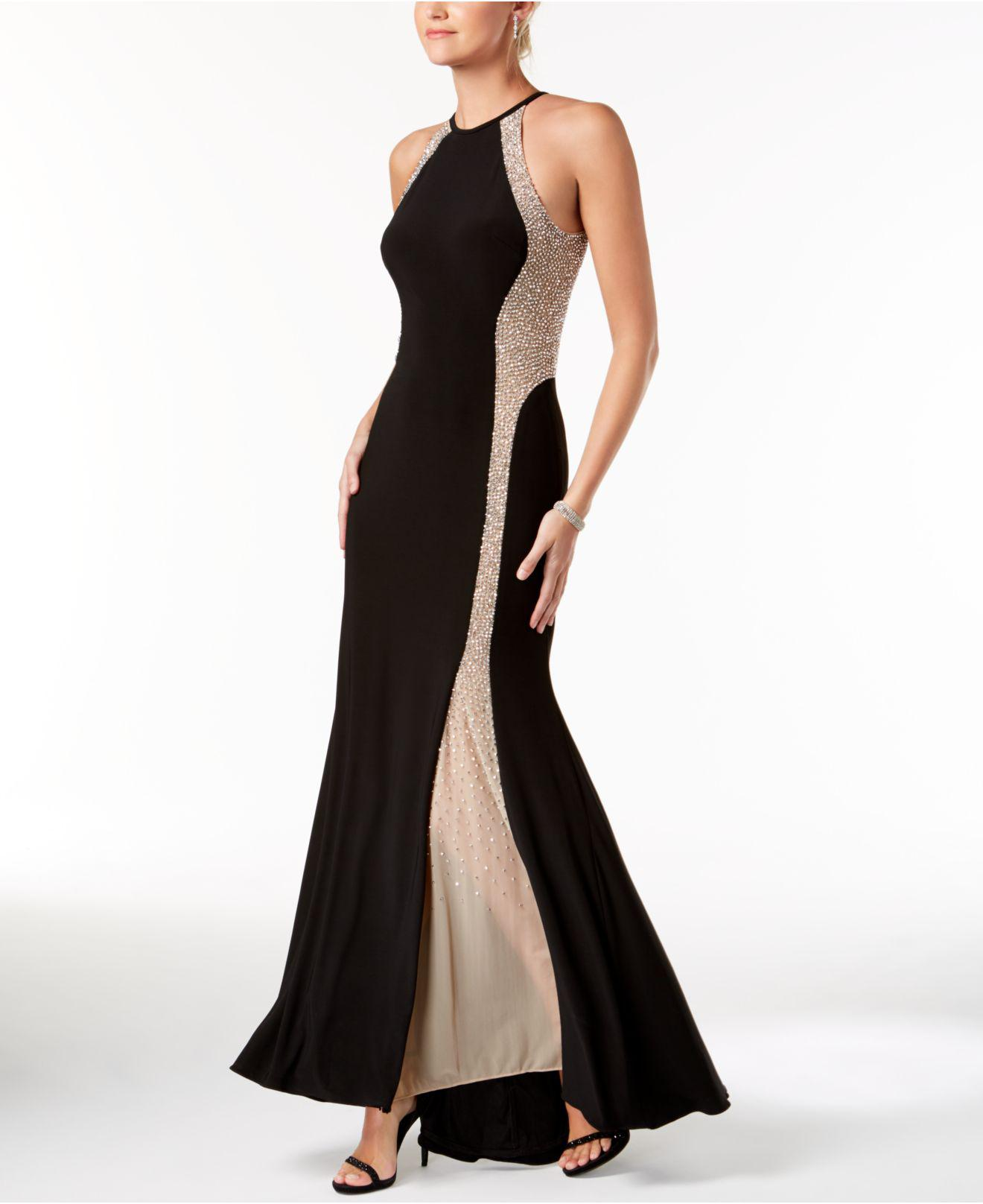 Lyst - Xscape Caviar-beaded Illusion Gown in Black