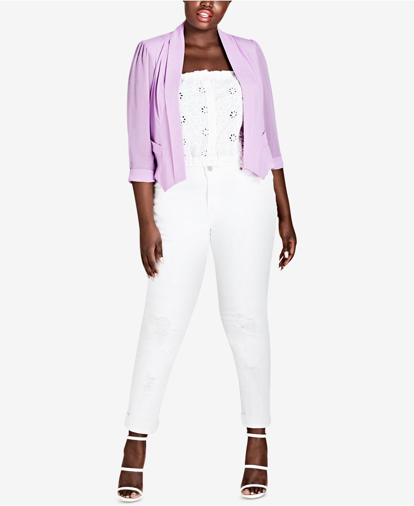 de50063d0bfad Lyst - City Chic Trendy Plus Size Pleated Blazer in Purple - Save ...