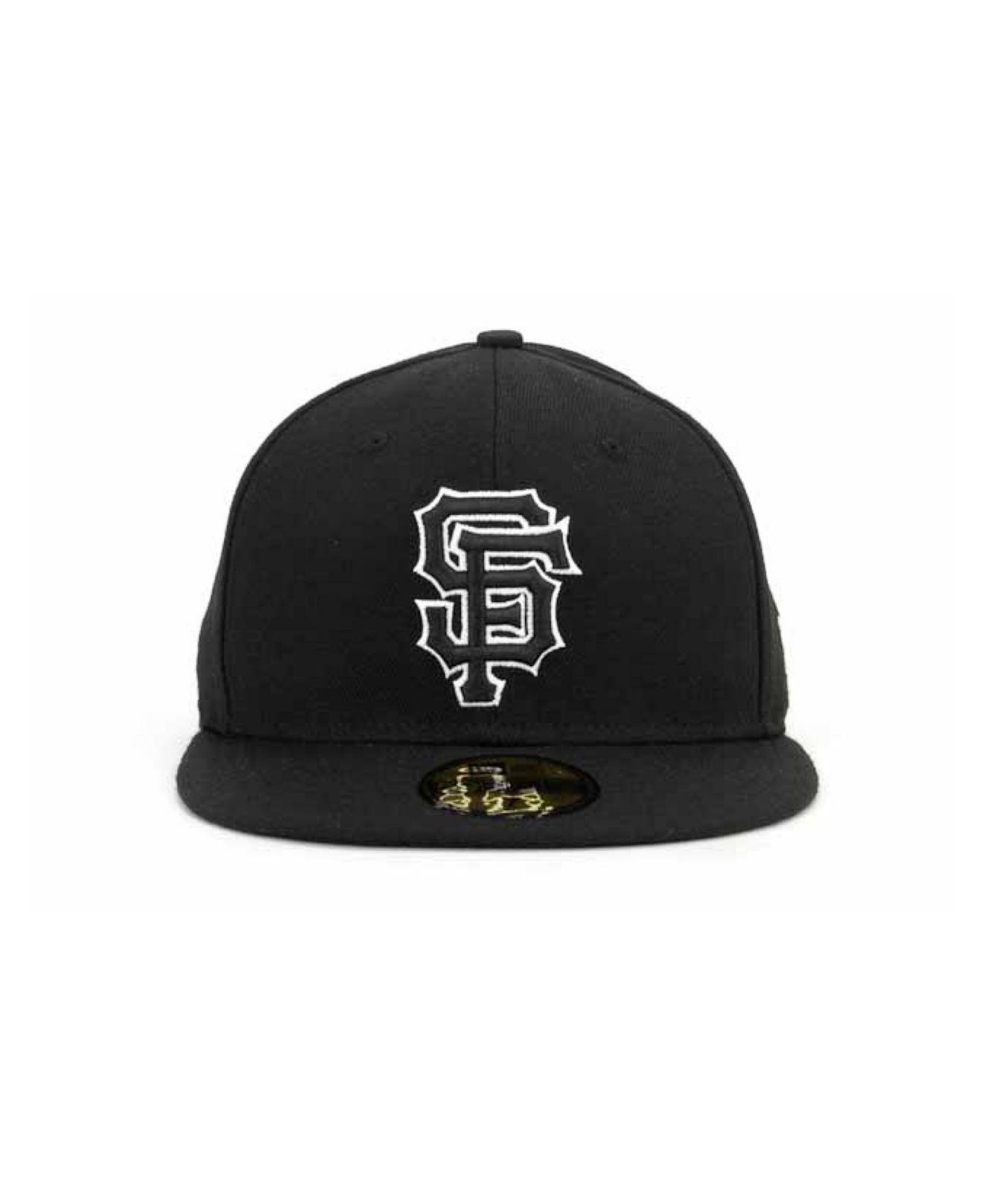 more photos f21d7 15b22 ... shop lyst ktz san francisco giants black and white fashion 59fifty cap  in black for men