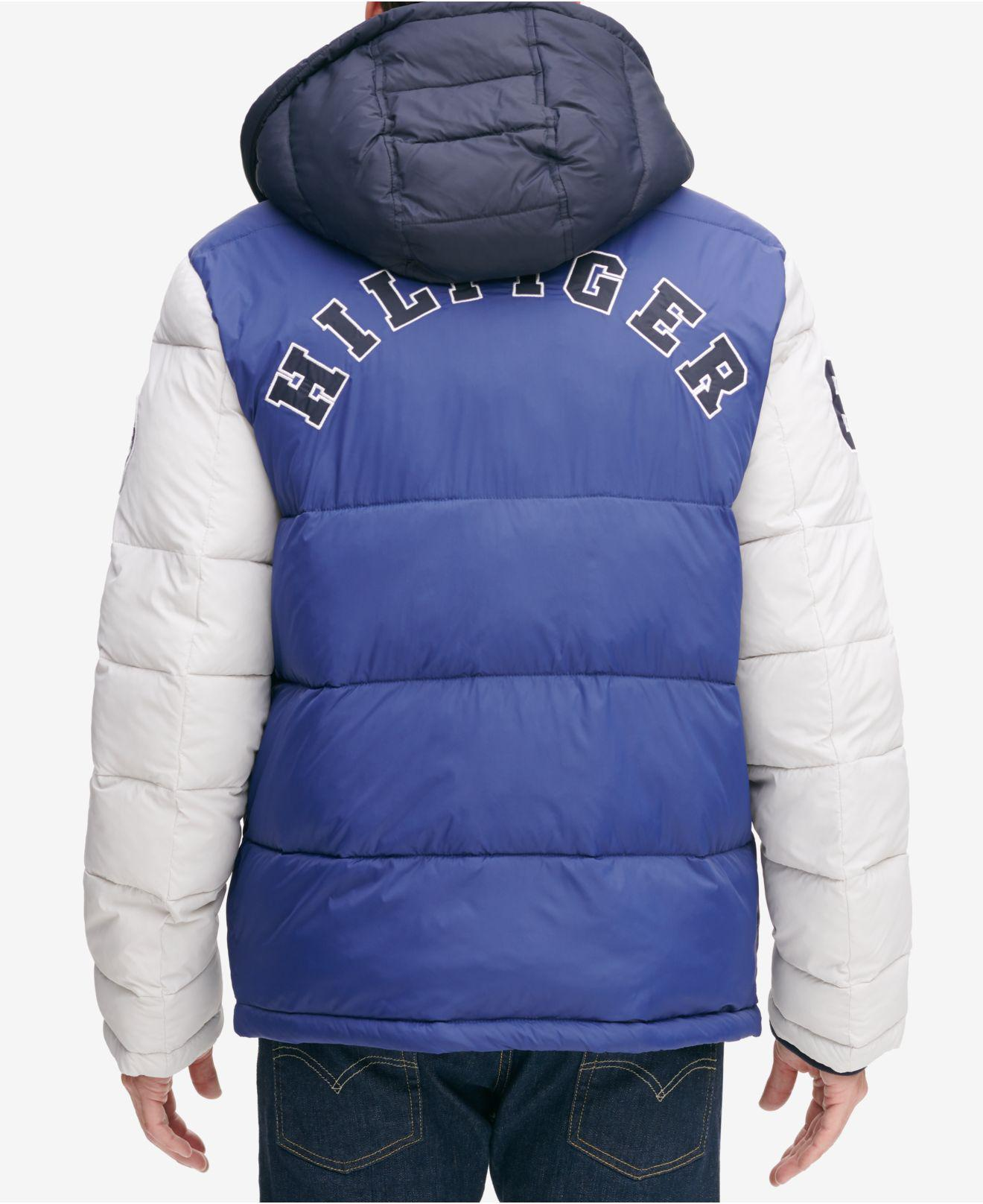 bb13d16be7768 Lyst - Tommy Hilfiger Varsity Hooded Puffer Jacket