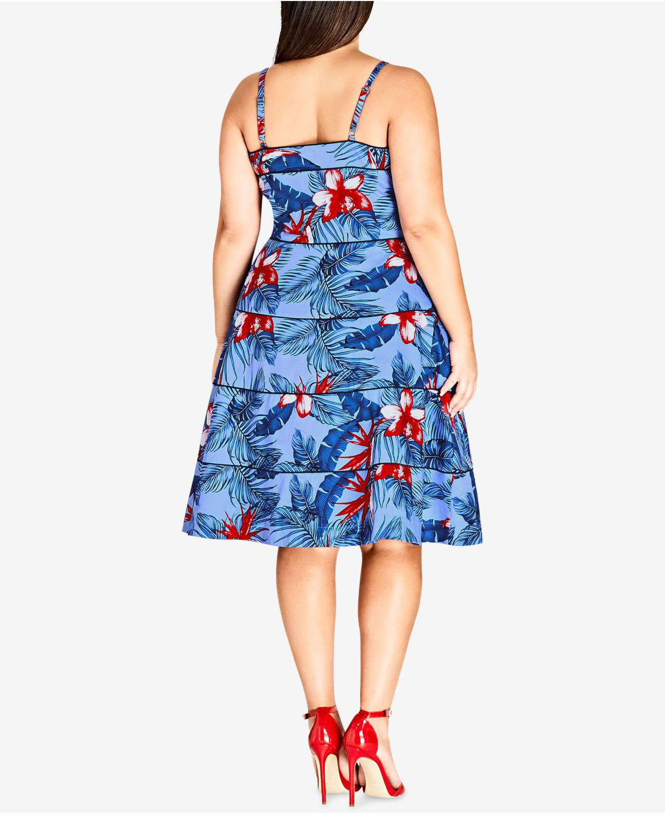 3baeaf5564b3d Lyst - City Chic Trendy Plus Size Tropical-print Fit   Flare Dress in Blue  - Save 50%