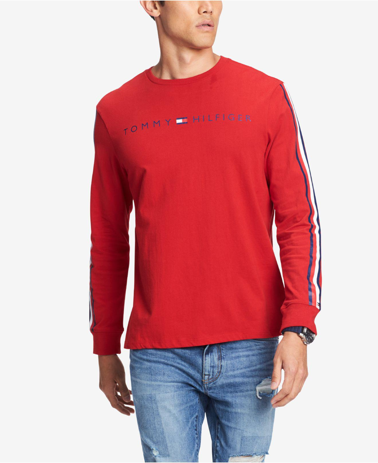 e45895318ee7eb Lyst - Tommy Hilfiger Knox Stripe-sleeve Logo Graphic T-shirt ...