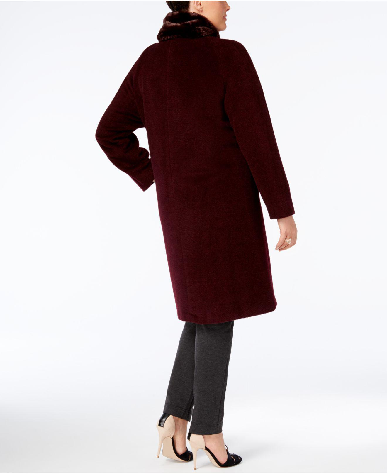 3627a5d637b Lyst - Jones New York Plus Size Walker Coat With Faux-fur Scarf in Red