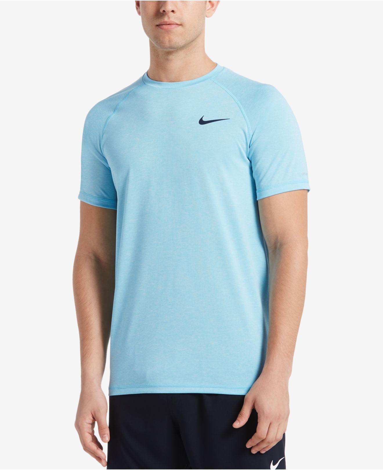 627c140f Nike. Men's Blue Big & Tall Dri-fit Heather Hydroguard Upf 40 Rashguard  Swim Tee