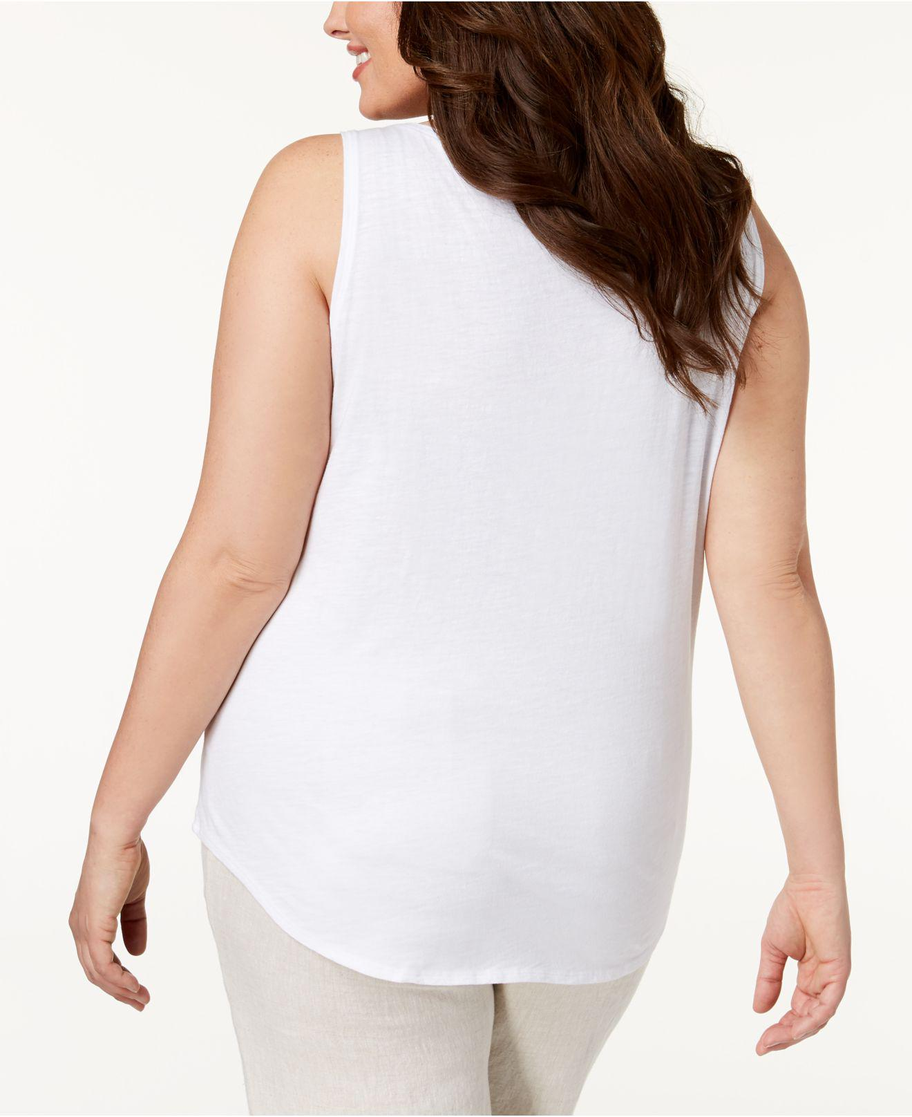 6e9b9bd6f2efb Lyst - Eileen Fisher Plus Size Organic Cotton Tank Top in White