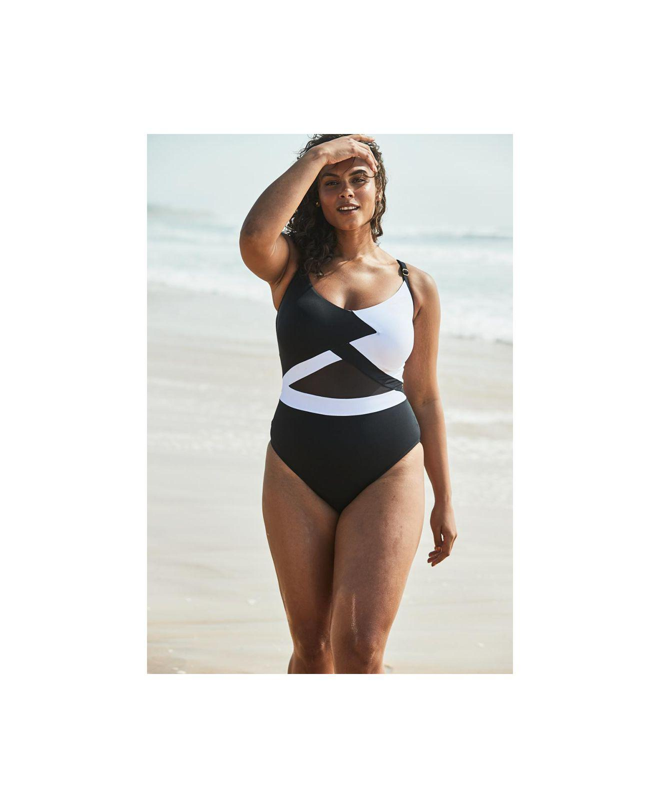 7e97822f9c7 Anne Cole Plus Size Hot Mesh One-piece Swimsuit in Black - Lyst