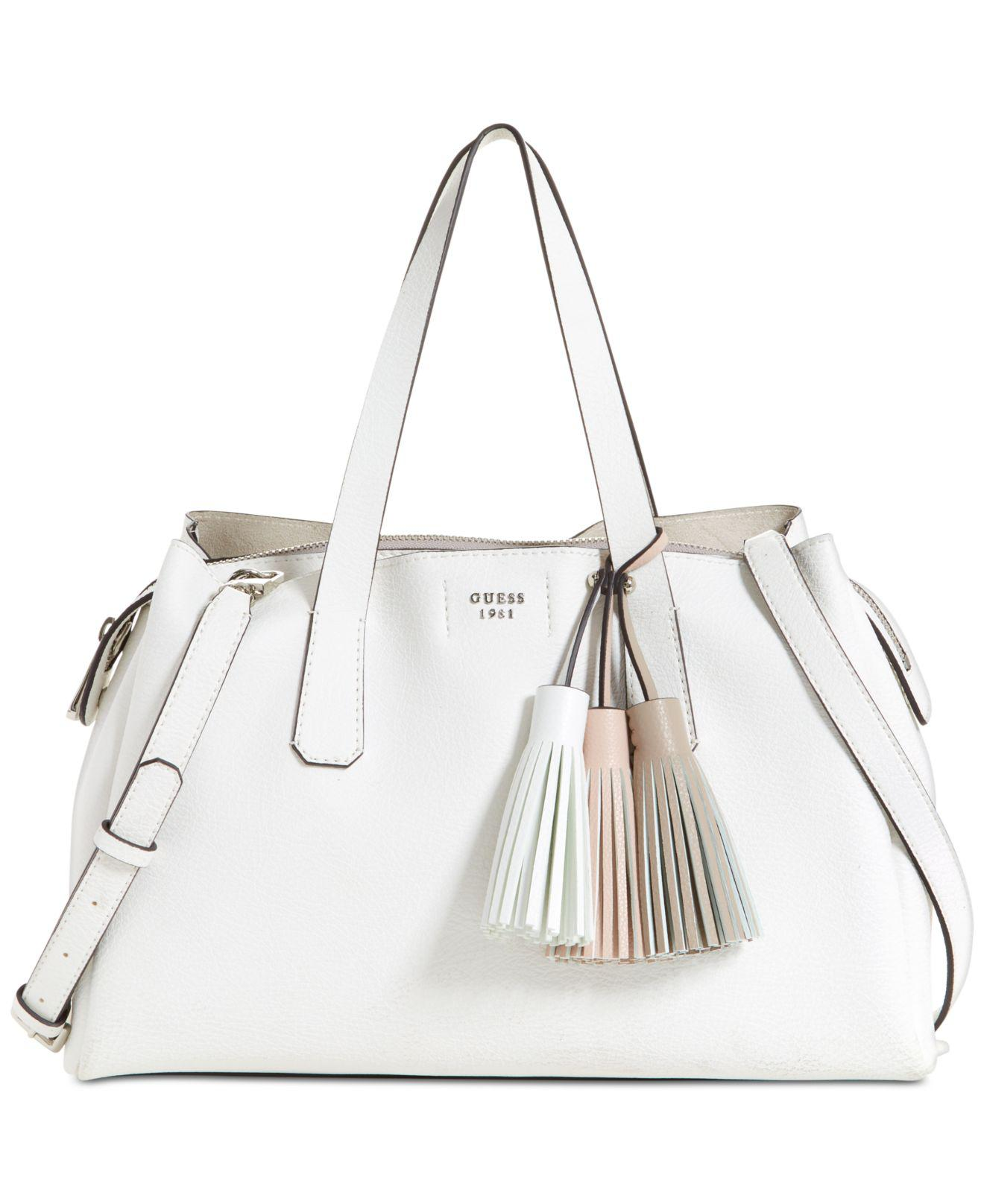 Lyst - Guess Trudy Girlfriend Satchel in White fd812f27fe886