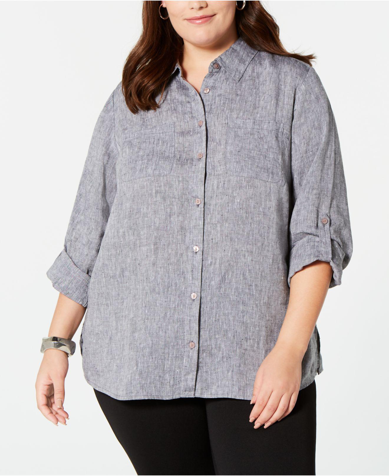 be44a5a65f5 Charter Club. Women s Gray Plus Size Linen Utility Shirt ...