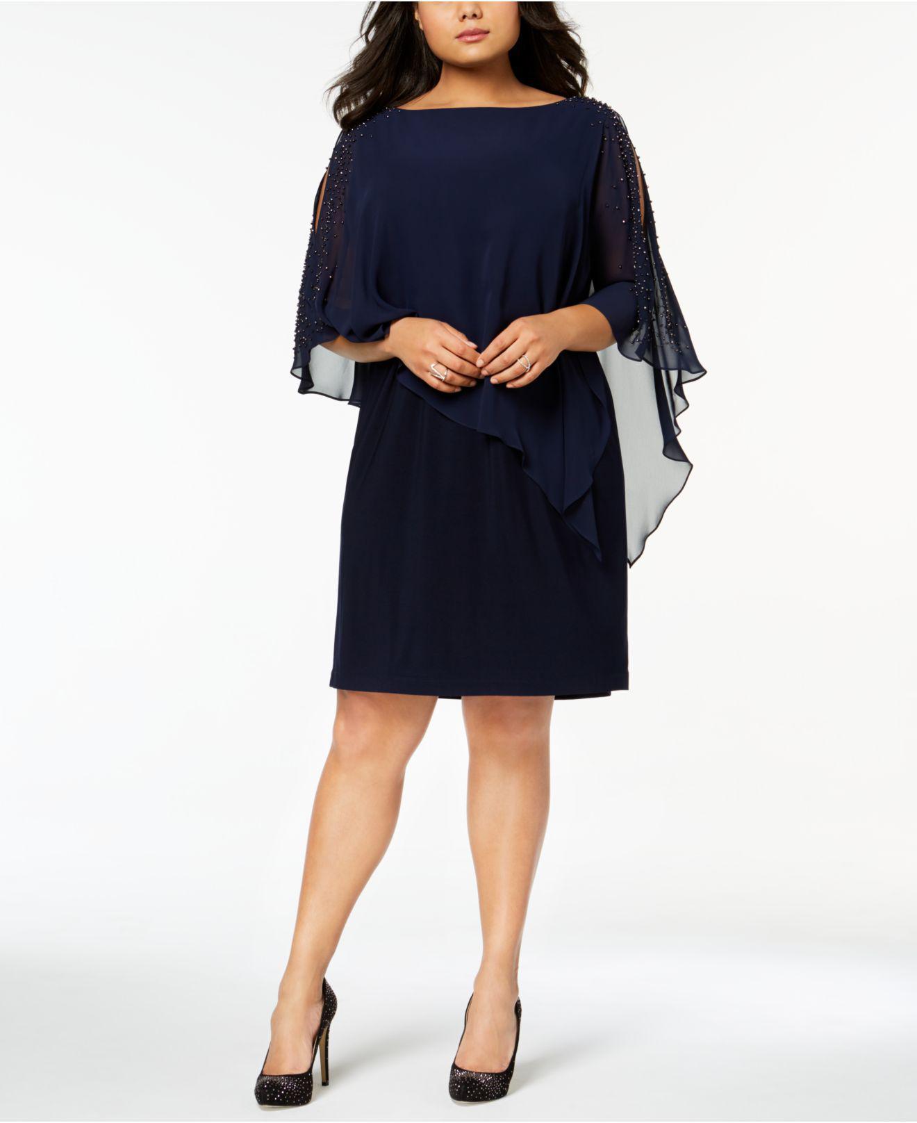 aee736d2c6e Xscape Plus Size Beaded Chiffon Popover Dress in Blue - Lyst