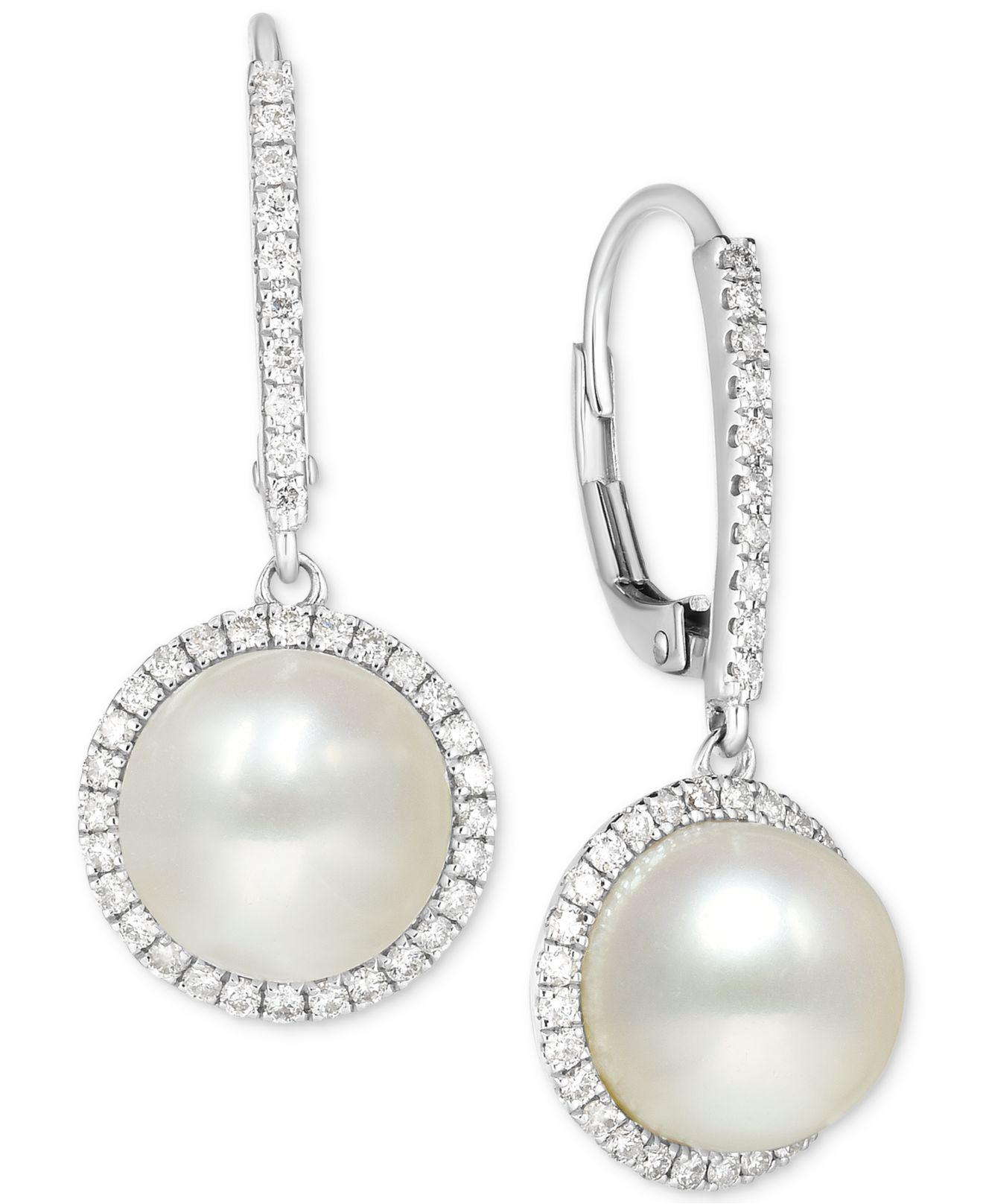 20618bf83 Lyst - Macy's Cultured Freshwater Pearl (9mm) And Diamond (1/2 Ct ...