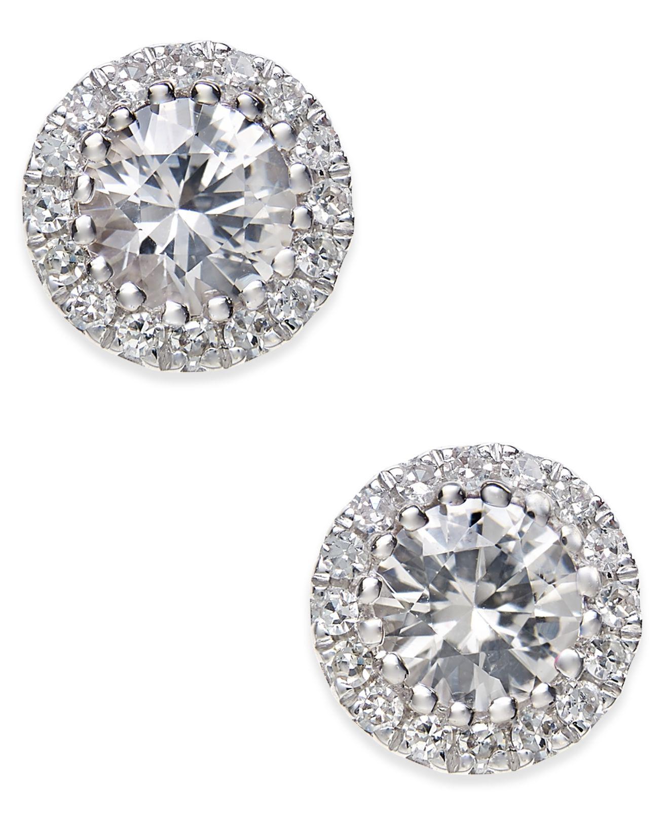 71d385680 Macy's White Sapphire (5/8 Ct. T.w.) And Diamond (1/10 Ct. T.w. ...