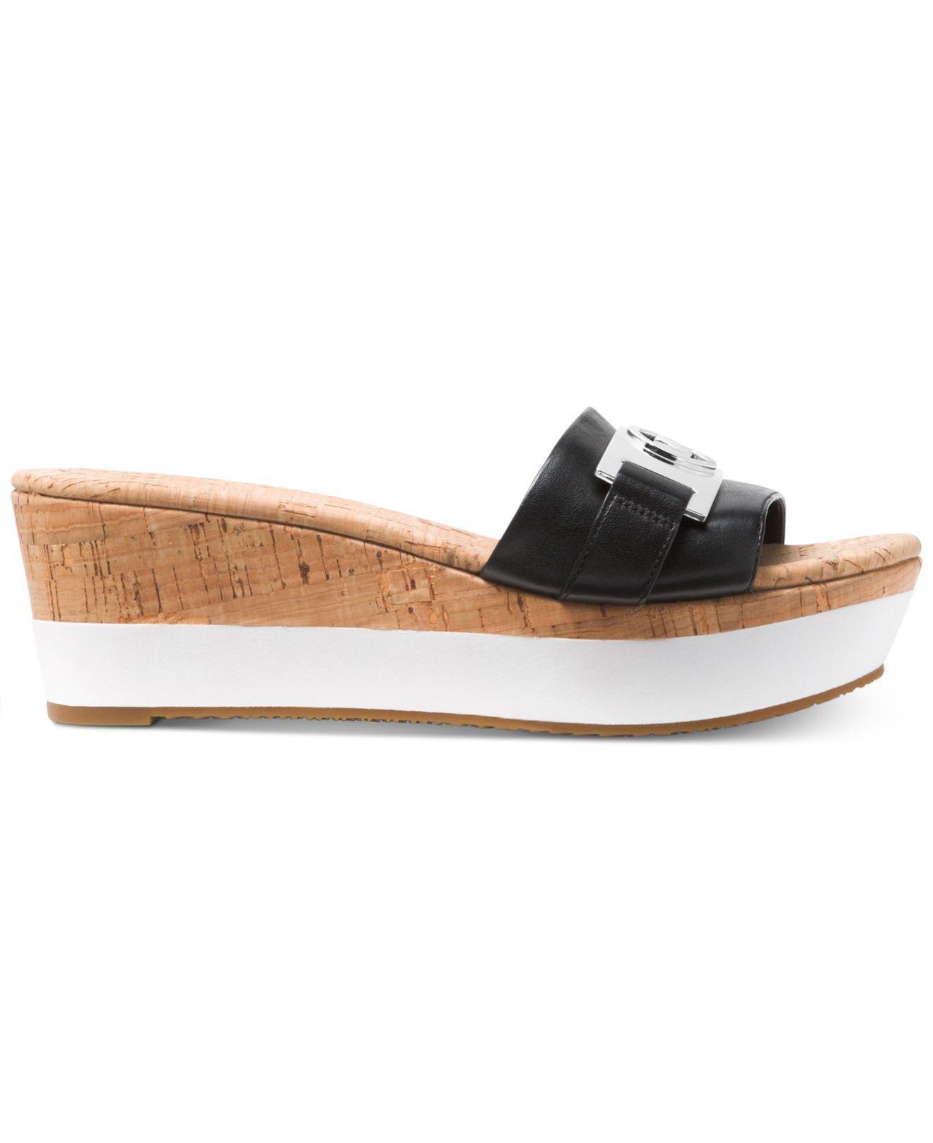 b17d137a7f1 Michael Kors Michael Warren Platform Wedge Sandals in Black - Save 3% - Lyst