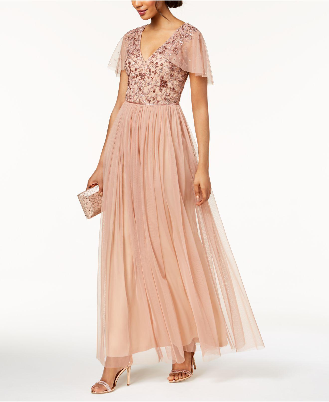ba56dd2dcea8f Lyst - Adrianna Papell Beaded Cape Gown in Pink