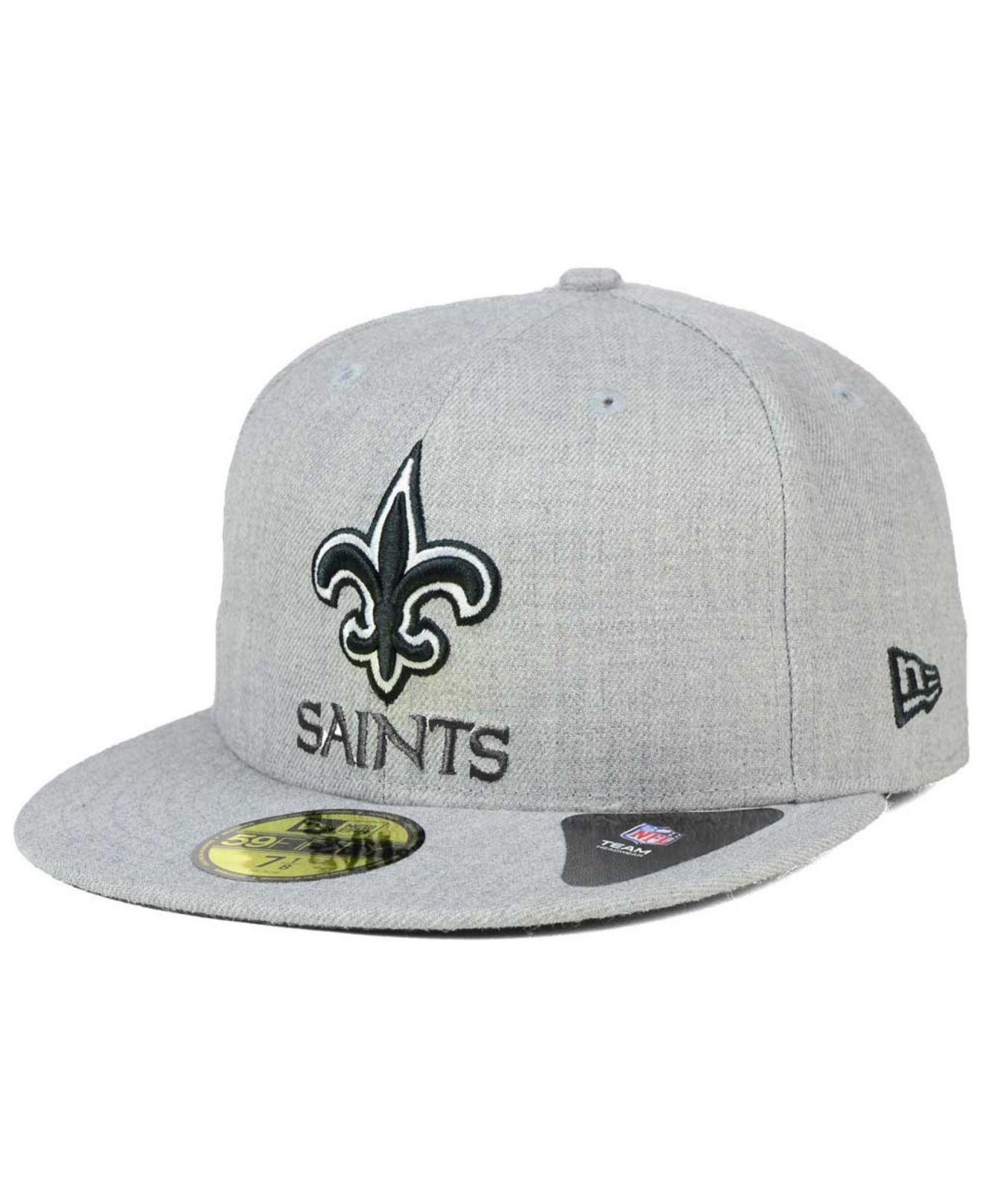 8682ccfe008 KTZ - Gray New Orleans Saints Heather Black White 59fifty Fitted Cap for  Men - Lyst. View fullscreen