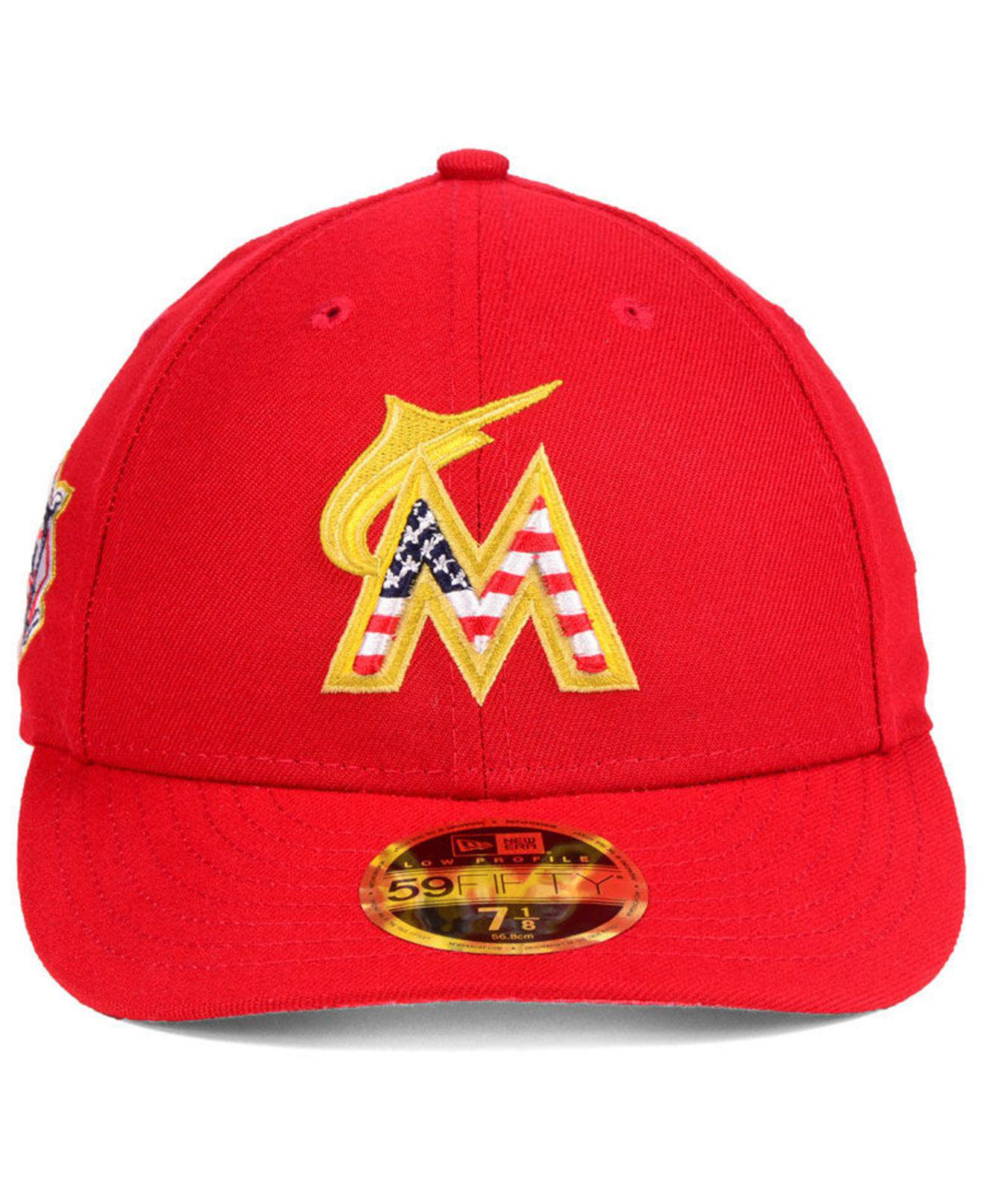 official photos 1580e 3a884 Lyst - KTZ Miami Marlins Stars And Stripes Low Profile 59fifty Fitted Cap  2018 in Red for Men