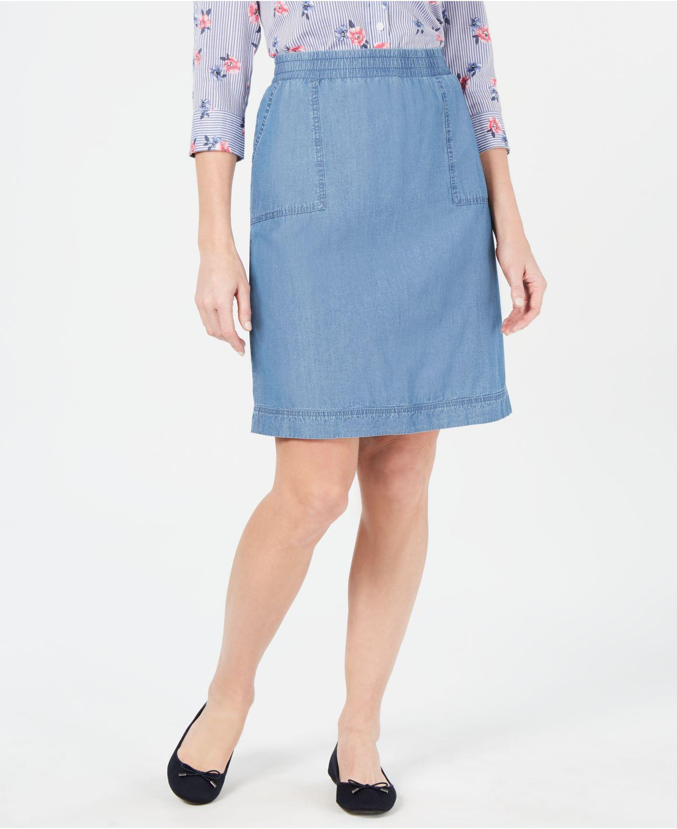 0244e6fe04 Lyst - Karen Scott Petite Cotton Denim Skirt, Created For Macy's in Blue