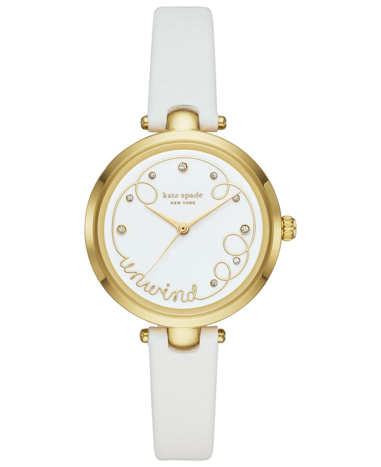 87db2390d88 Lyst - Kate Spade Holland White Leather Strap Watch 34mm in White