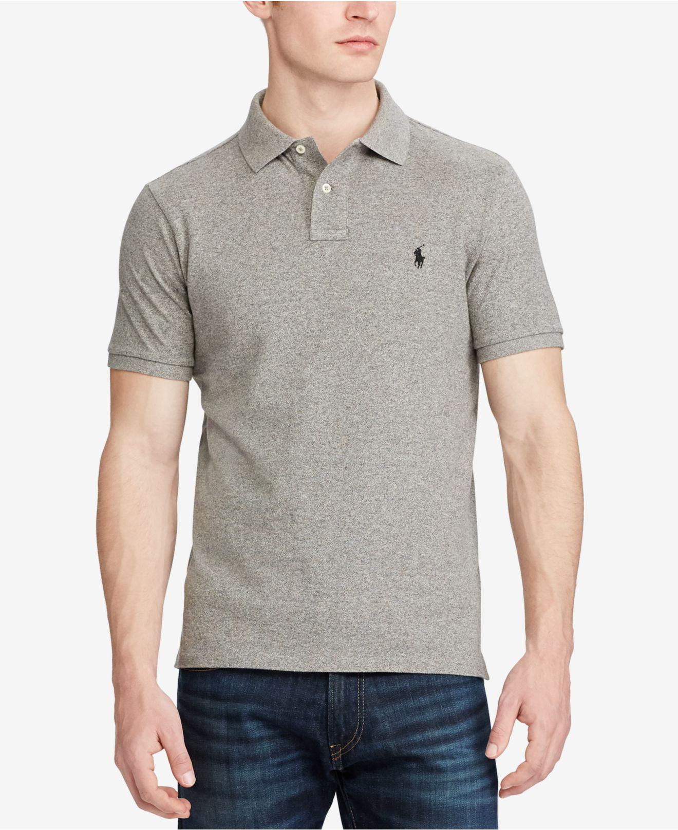 1abc84c3fd65 Lyst - Polo Ralph Lauren Custom Slim-fit Mesh Polo Shirt in Gray for Men