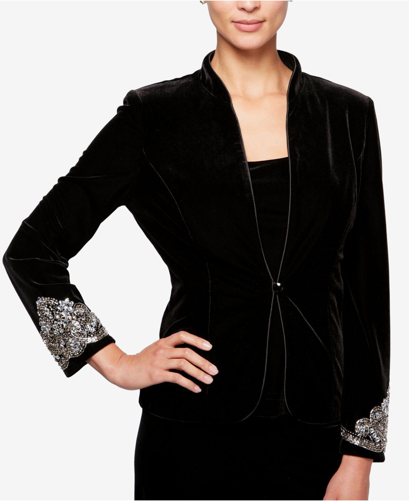 45c8217a9a6 Lyst - Alex Evenings Beaded Velvet Jacket   Top Set in Black