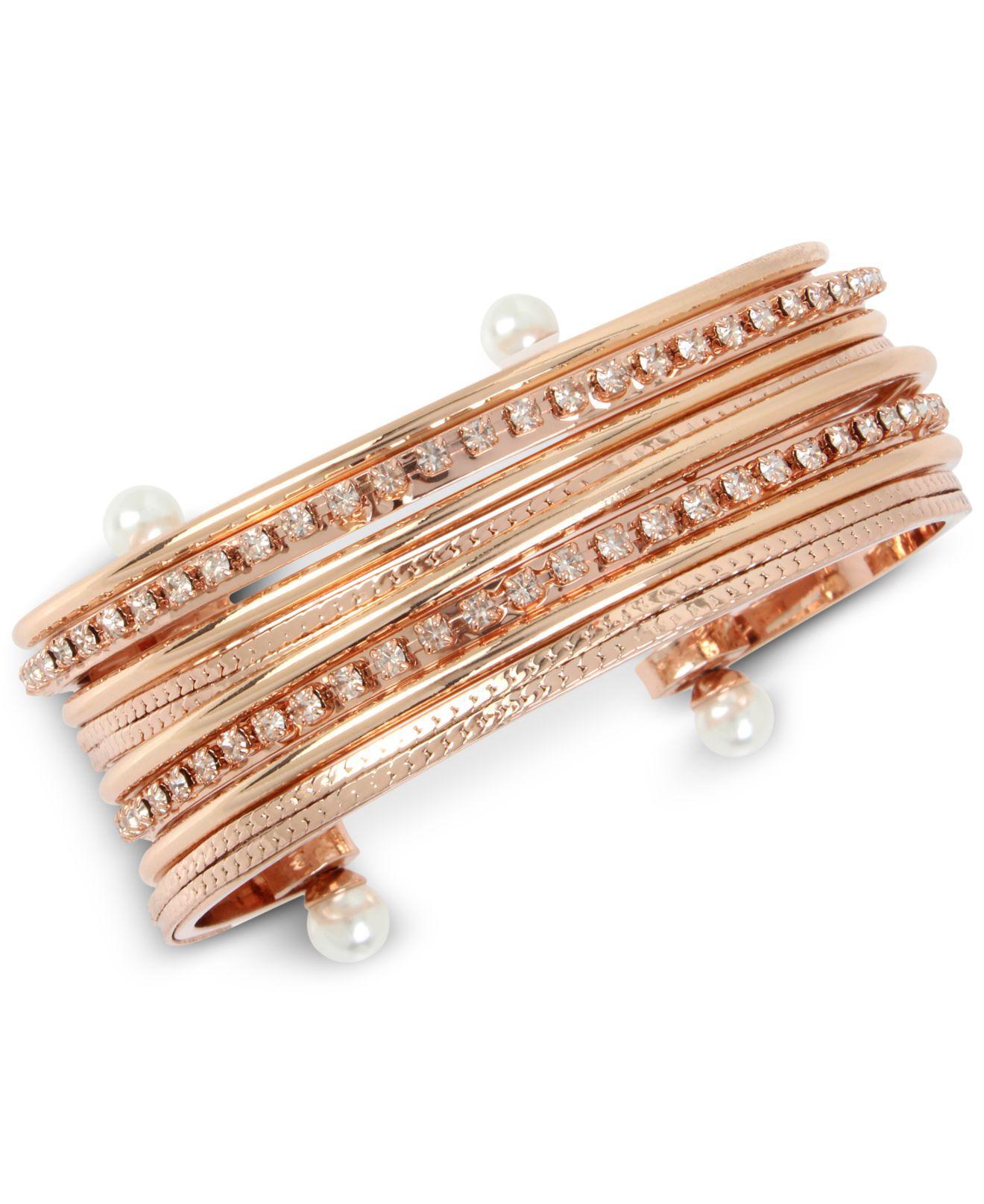 f93b5ff4292e Lyst - BCBGeneration Bcbg Crystal   Imitation Pearl Multi-row Cuff Bracelet  in Metallic