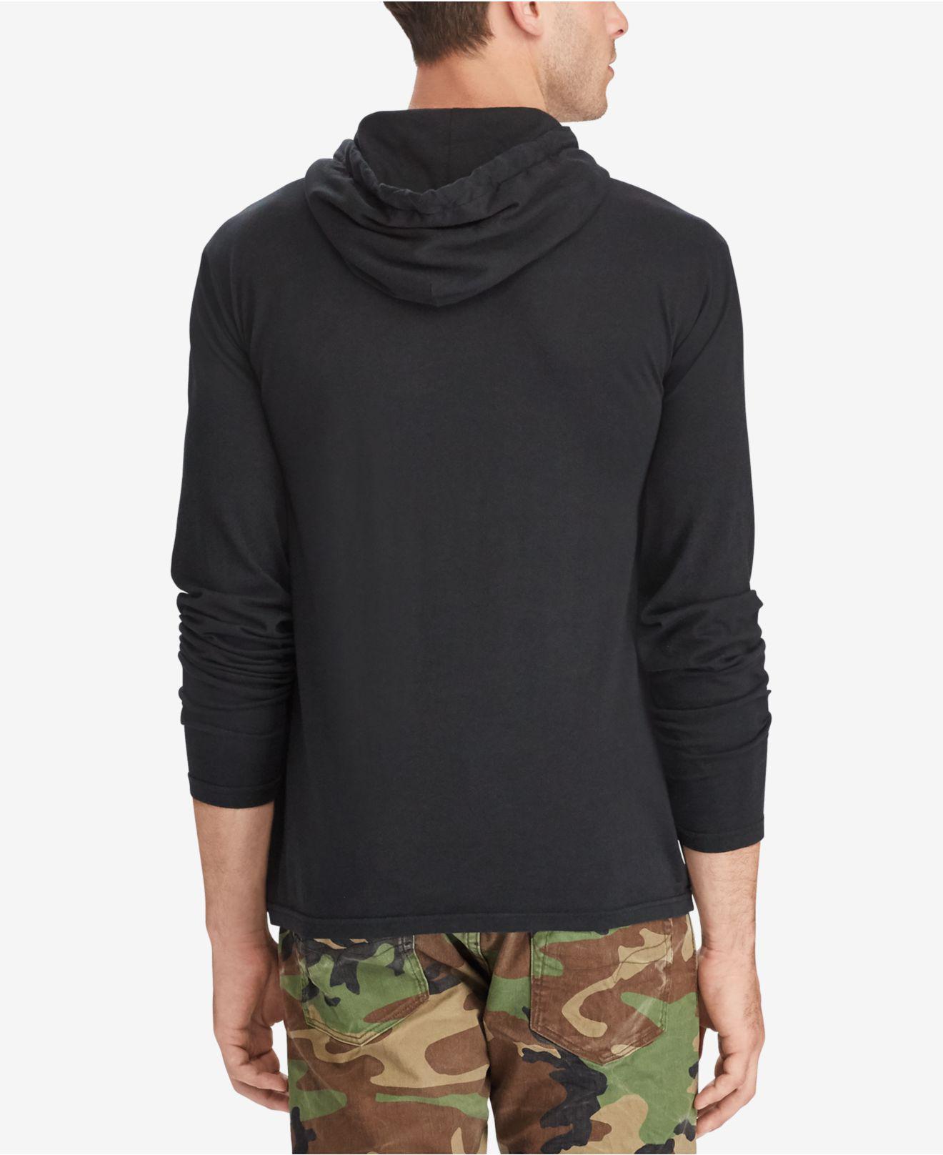 071651261496 Lyst - Polo Ralph Lauren Men s Jersey T-shirt Hoodie in Black for Men -  Save 17%