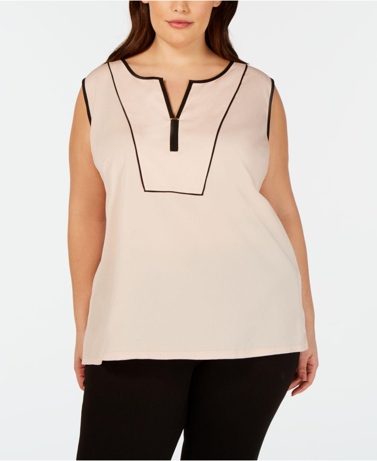 c7e7e855d7506 Lyst - Calvin Klein Plus Size Contrast-piping Top in Natural
