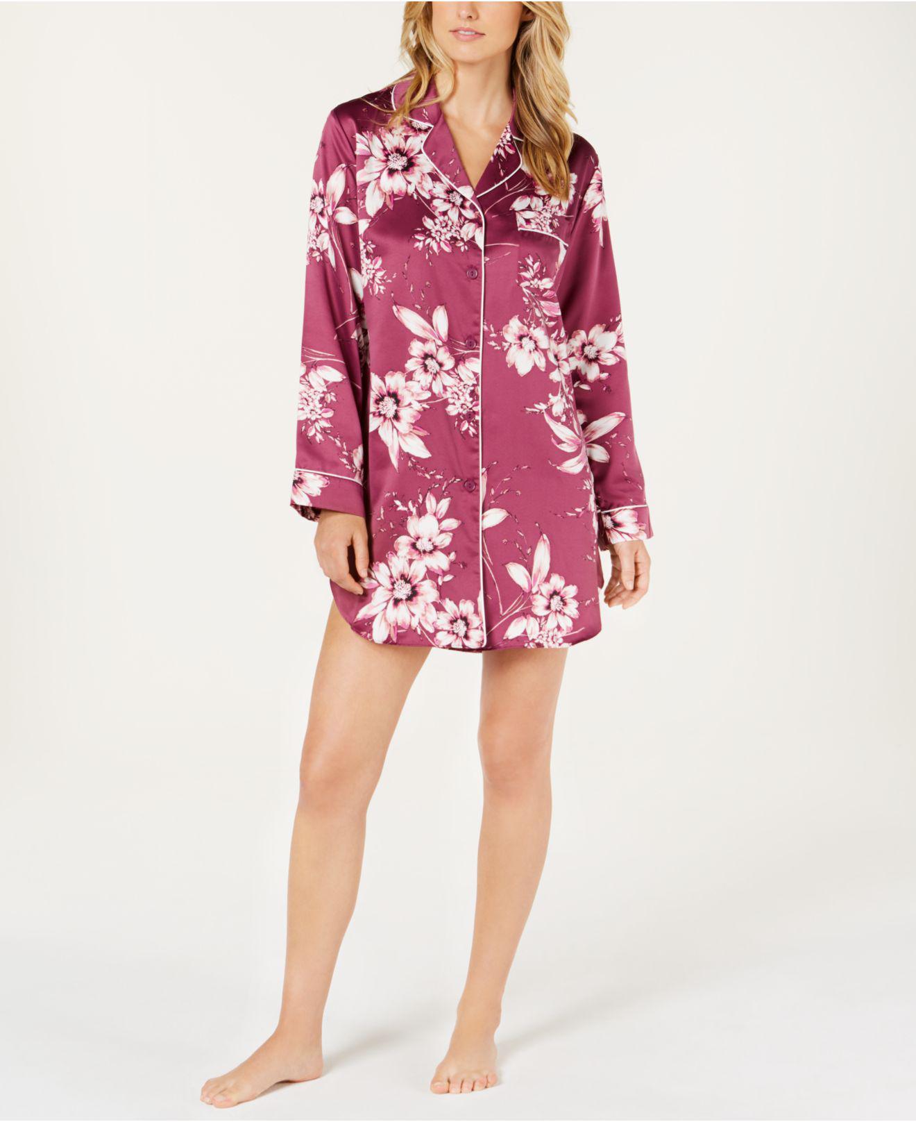 4afdfa5b01 Lyst - Linea Donatella Sleepy Head Flower-print Satin Sleepshirt Shm160