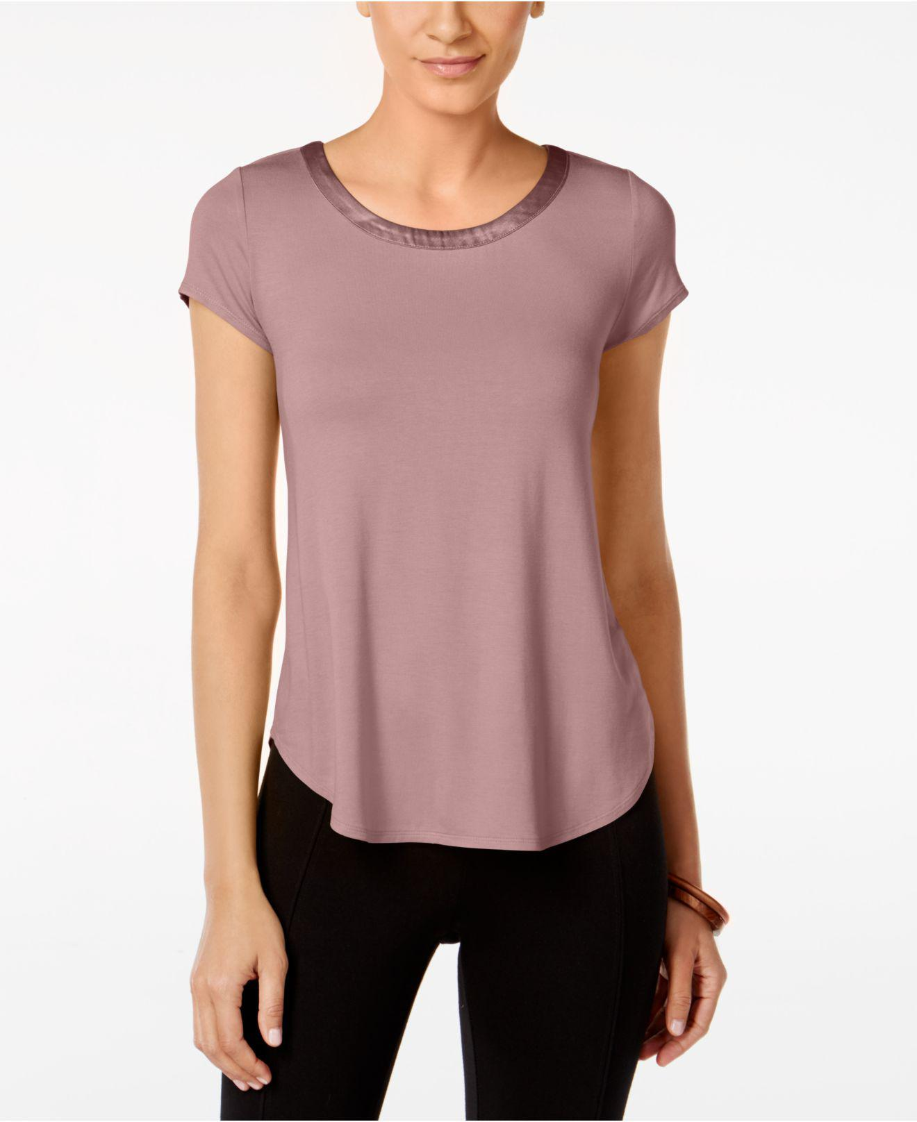 7117062d Lyst - Alfani Petite Satin-trim High-low T-shirt, Created For Macy's ...