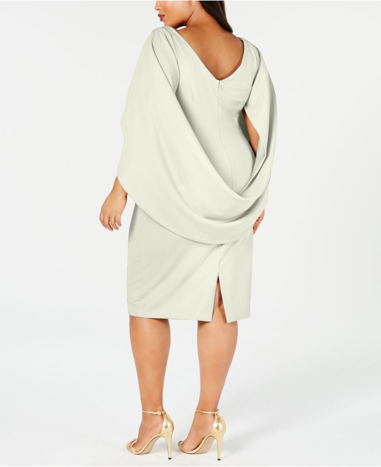 dd8baee241a Betsy   Adam Plus Size Ruched Cape Dress in White - Lyst