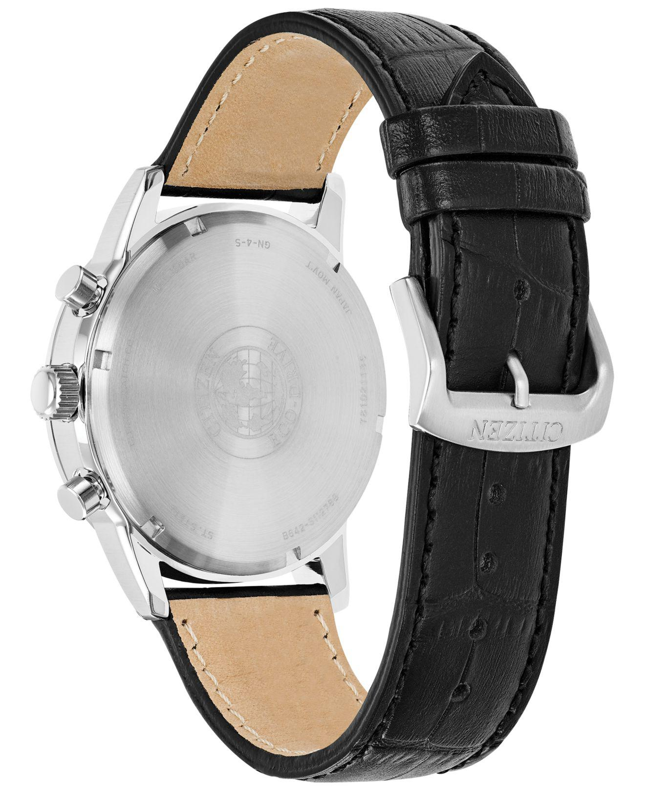 aeead8948 Citizen - Men's Chronograph Corso Black Leather Strap Watch 43mm for Men -  Lyst. View fullscreen