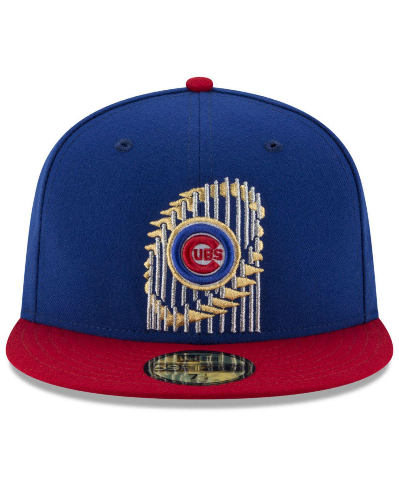 20418117a63 ... germany chicago cubs world series trophy 59fifty cap for men lyst. view  fullscreen d9ca3 755ae