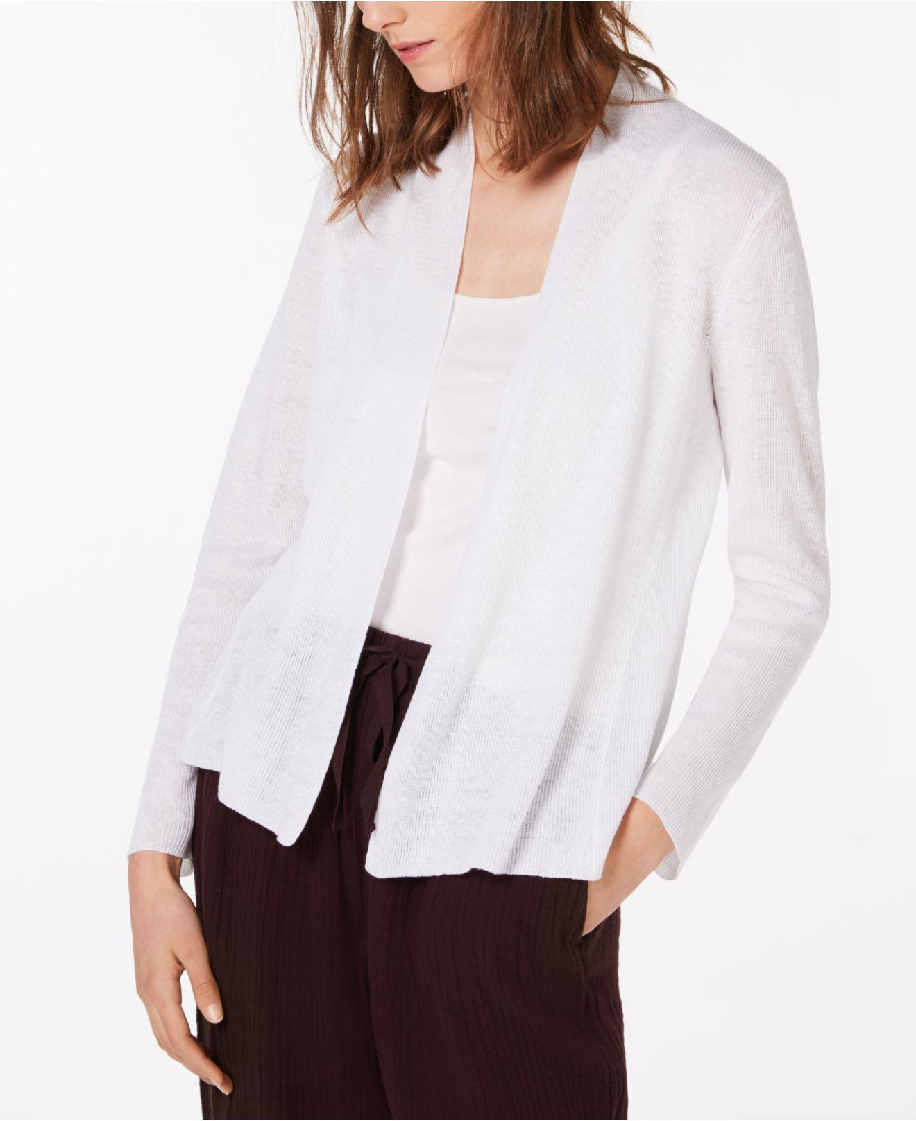 94fffb81052 Eileen Fisher. Women s White Organic Linen Open Cardigan ...
