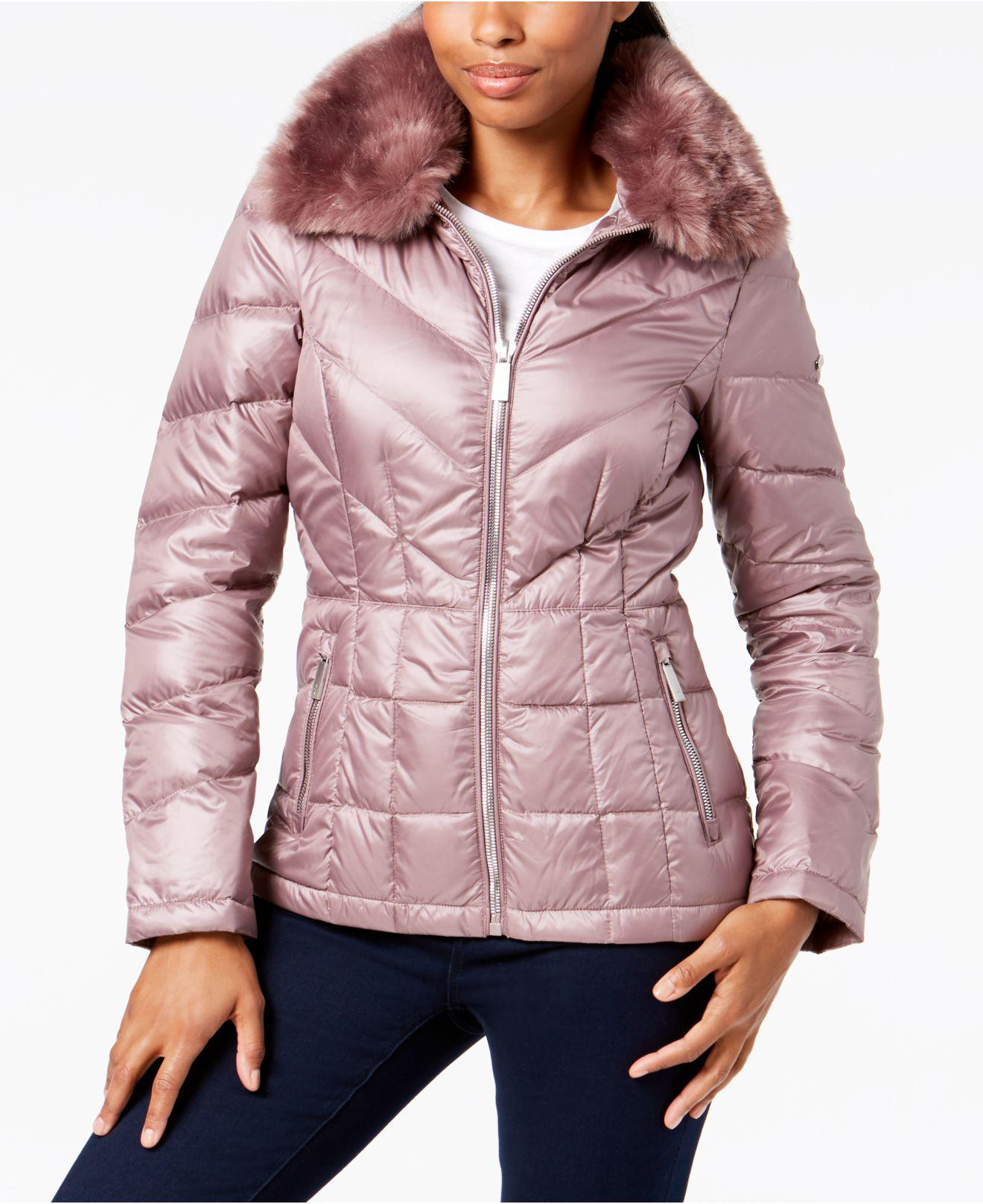 4582aca537 Lyst - Kenneth Cole Faux-fur-collar Puffer Coat in Pink