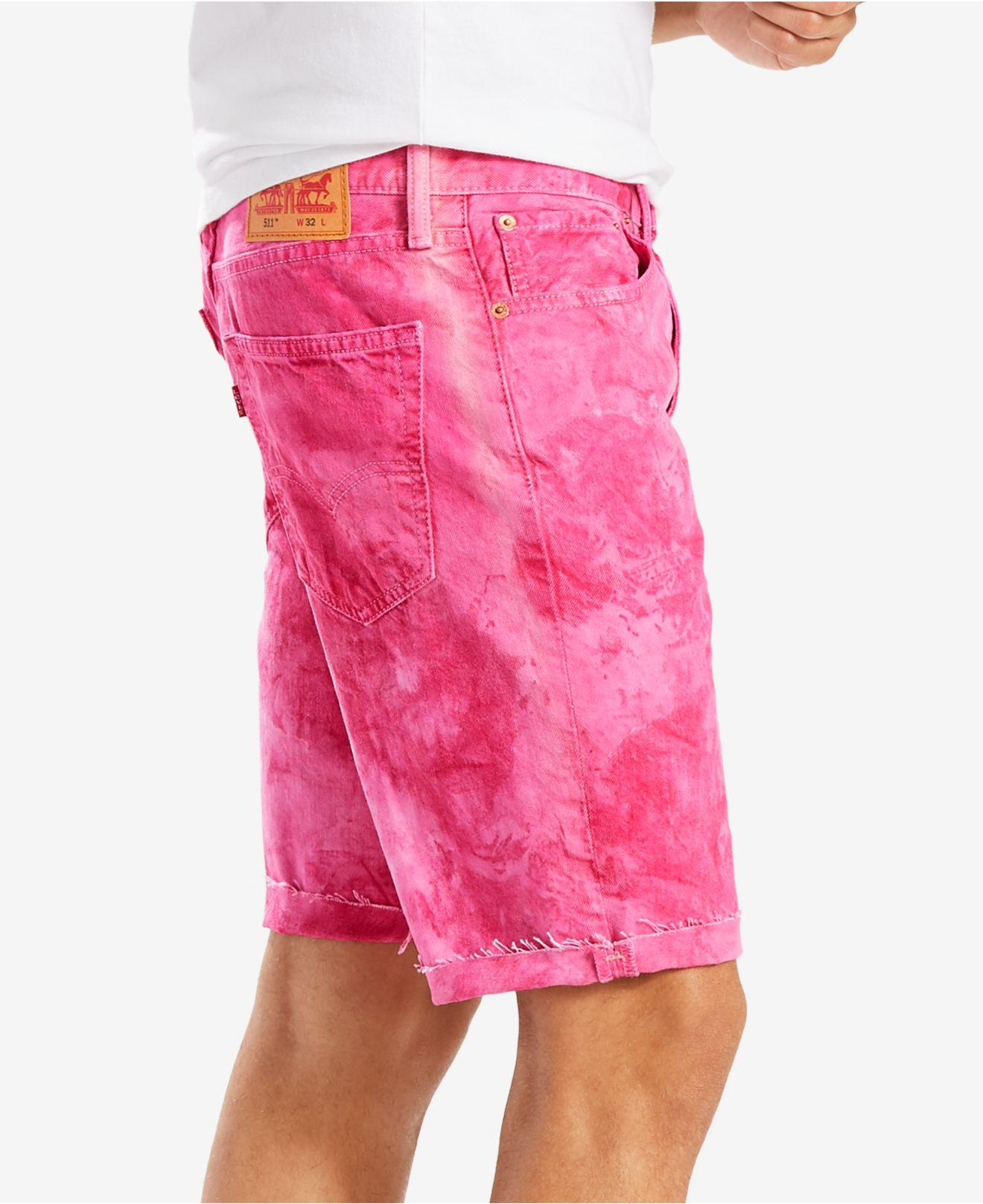 3e8594aa Levi's 511 Slim-fit Cutoff Ripped Jean Shorts in Pink for Men - Lyst