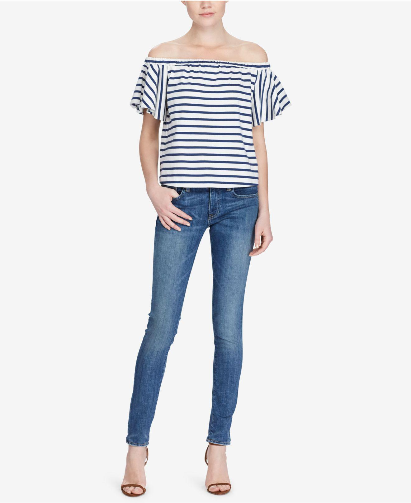 a277fdd682f0f Lyst - Polo Ralph Lauren Striped Off-the-shoulder Top in Blue