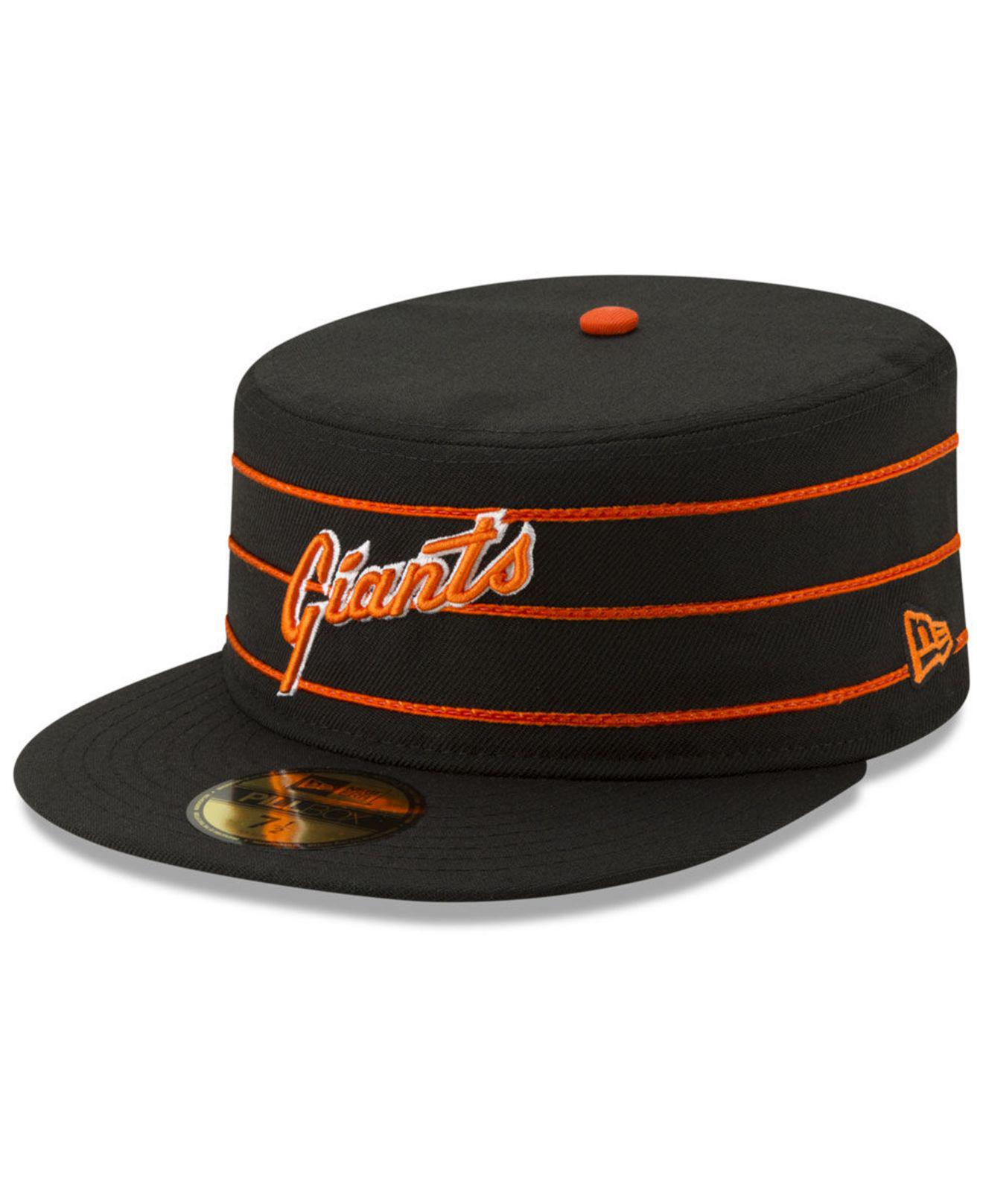 5ddfeedebfb09 ... clearance ktz. mens black san francisco giants pillbox 59fifty fitted  cap 9e25f c8721