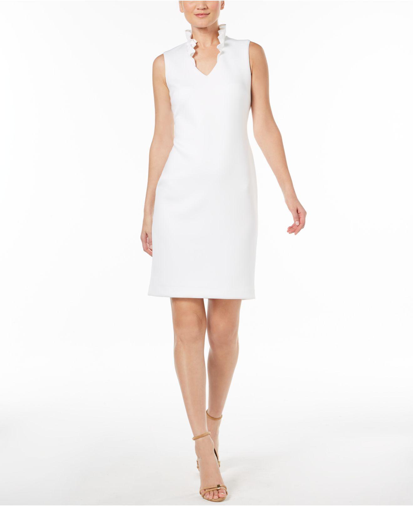 fc22ed0baa8 Calvin Klein Ruffled-collar Scuba Sheath Dress in White - Lyst