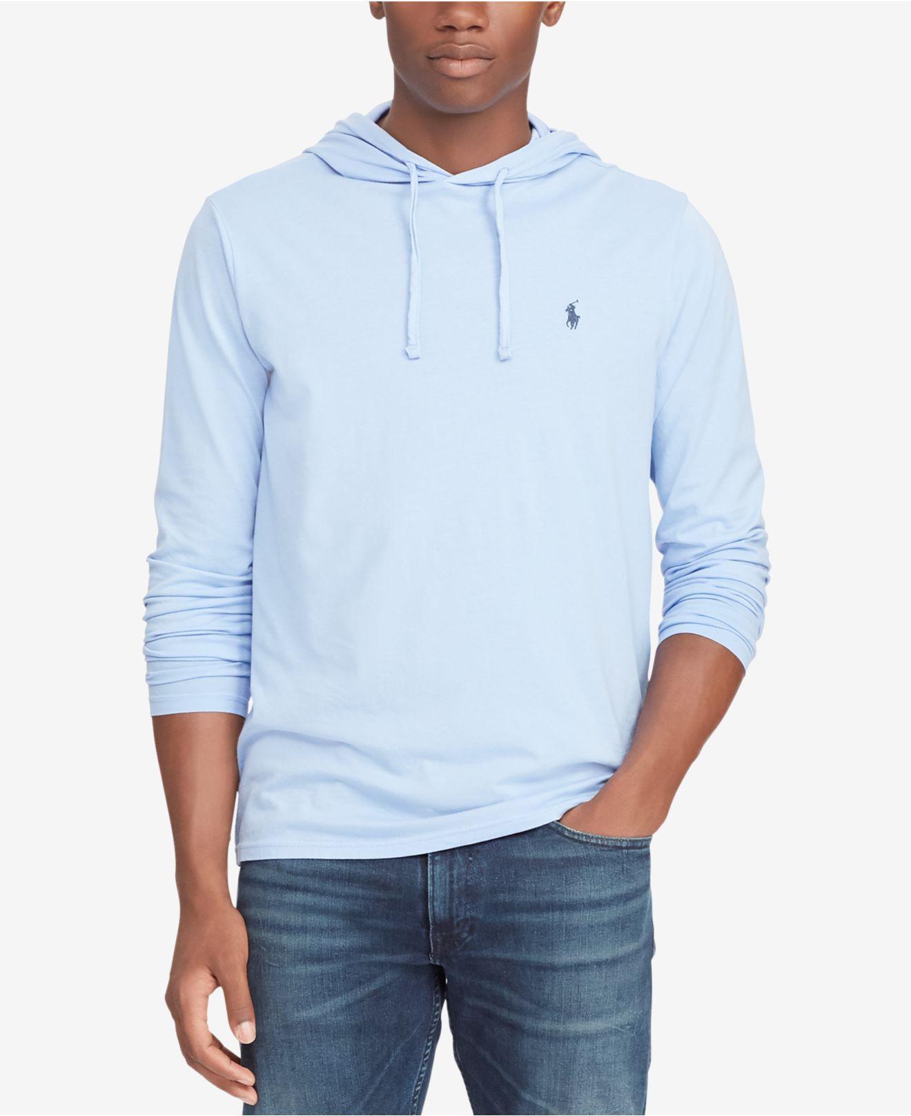 304239672 Lyst - Polo Ralph Lauren Jersey T-shirt Hoodie in Blue for Men ...